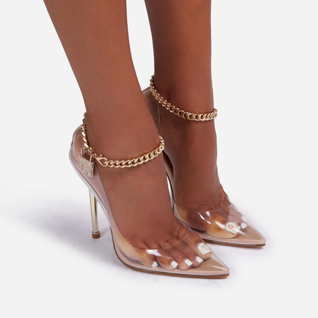 Empower Diamante Padlock Chain Detail Clear Perspex Metallic Court Heel In Nude Faux Leather Image 3