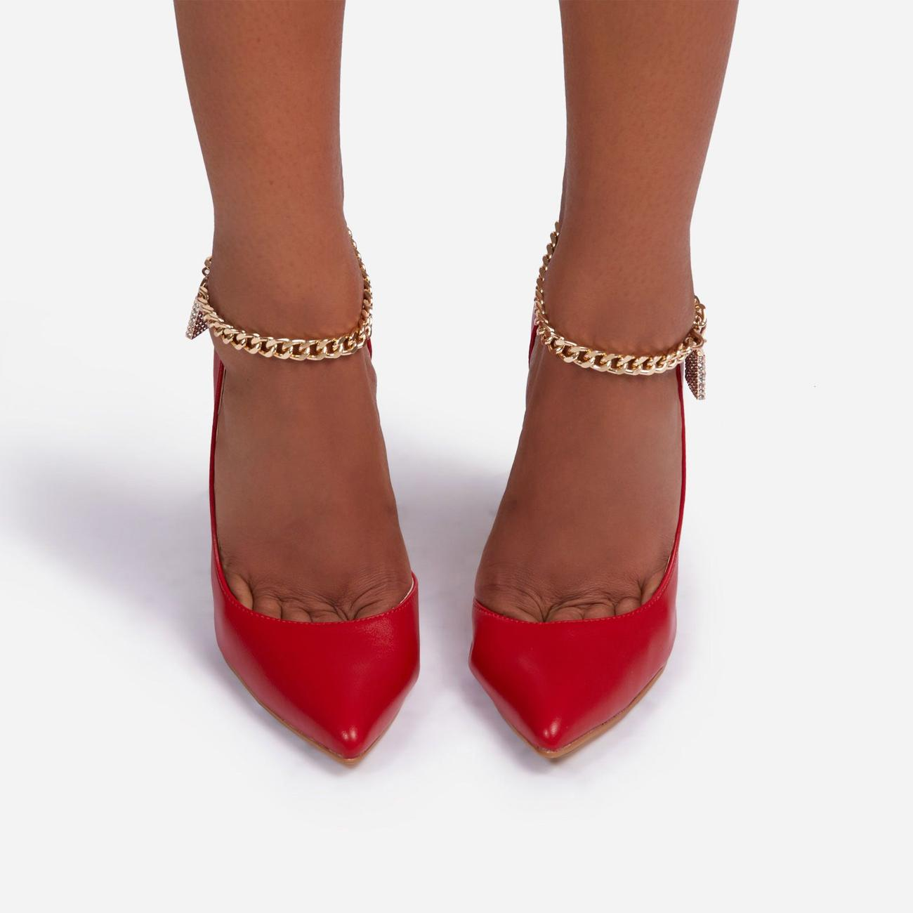 Empower Diamante Padlock Chain Detail Metallic Court Heel In Red Faux Leather Image 4