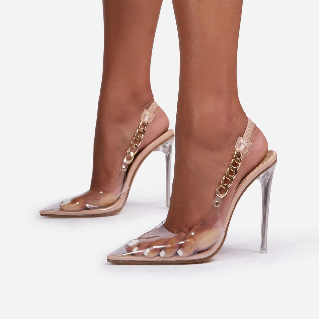 Martini Chunky Chain Detail Sling Back Clear Perspex Heel In Nude Faux Leather Image 1
