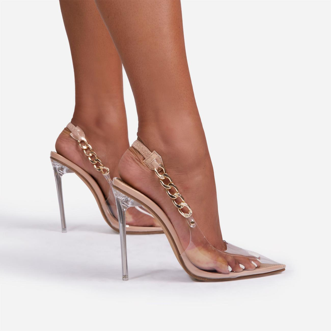 Martini Chunky Chain Detail Sling Back Clear Perspex Heel In Nude Faux Leather Image 2