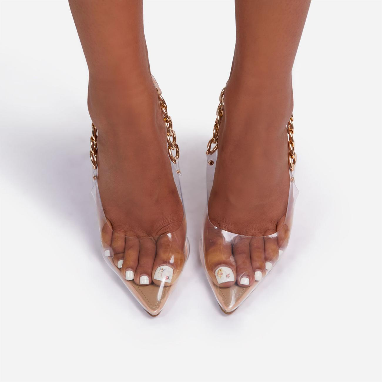 Martini Chunky Chain Detail Sling Back Clear Perspex Heel In Nude Faux Leather Image 4