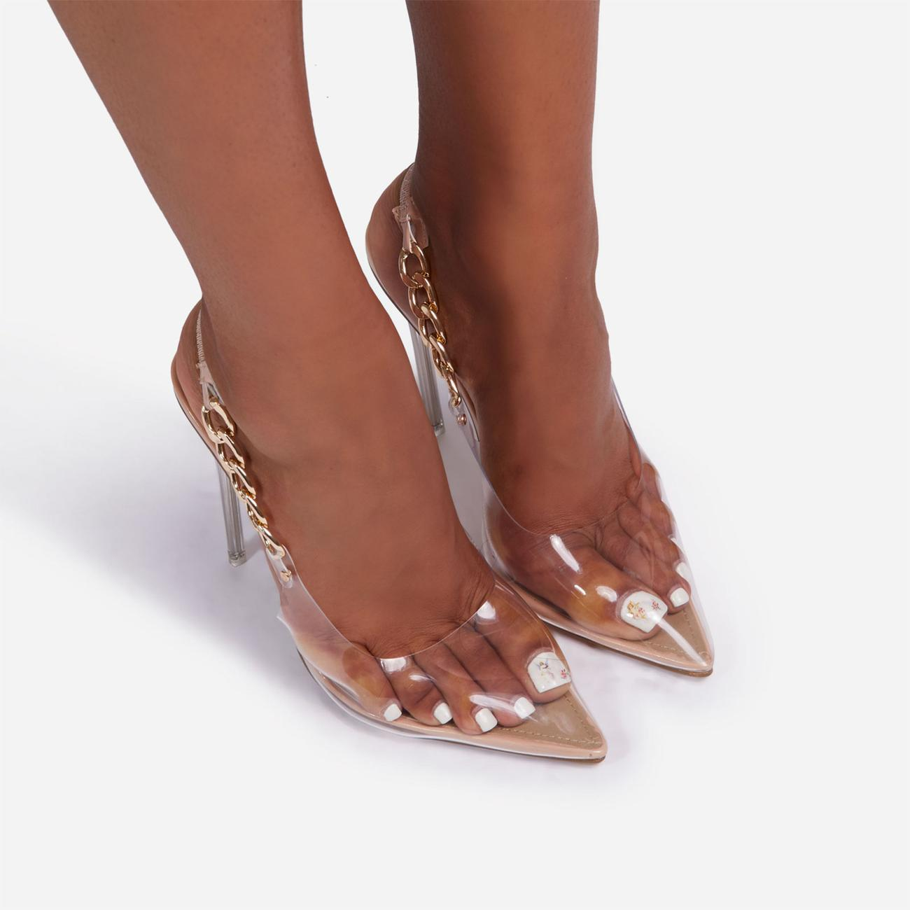 Martini Chunky Chain Detail Sling Back Clear Perspex Heel In Nude Faux Leather Image 3