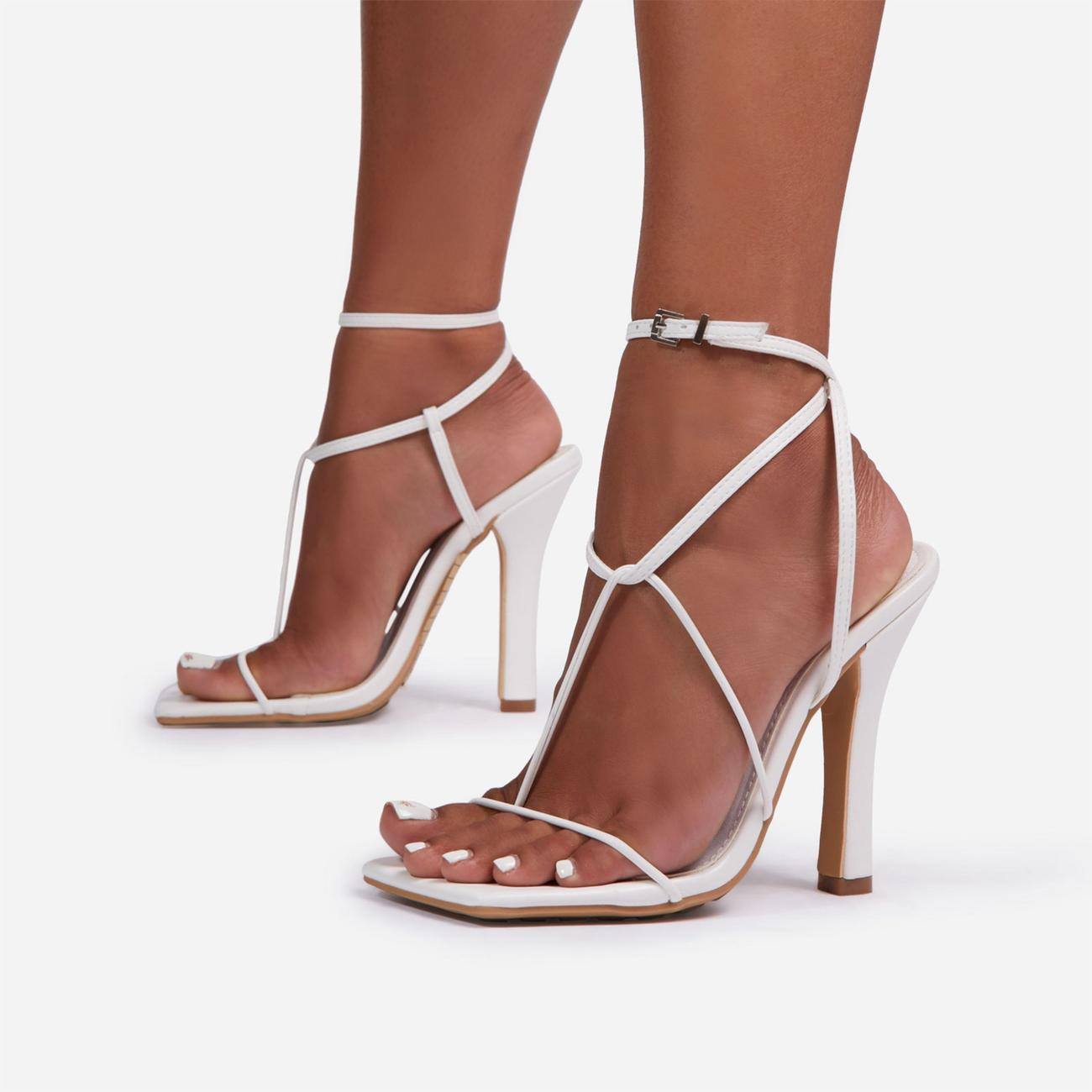 Glambition Strappy Square Toe Track Sole Heel In White Faux Leather Image 1