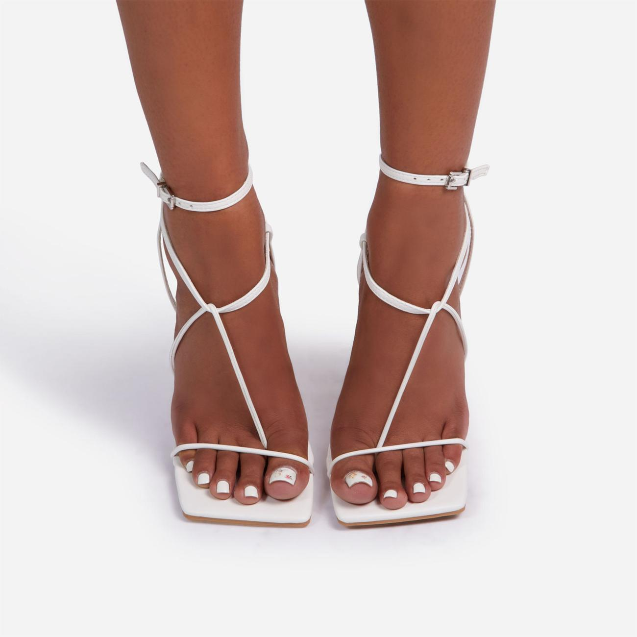 Glambition Strappy Square Toe Track Sole Heel In White Faux Leather Image 4