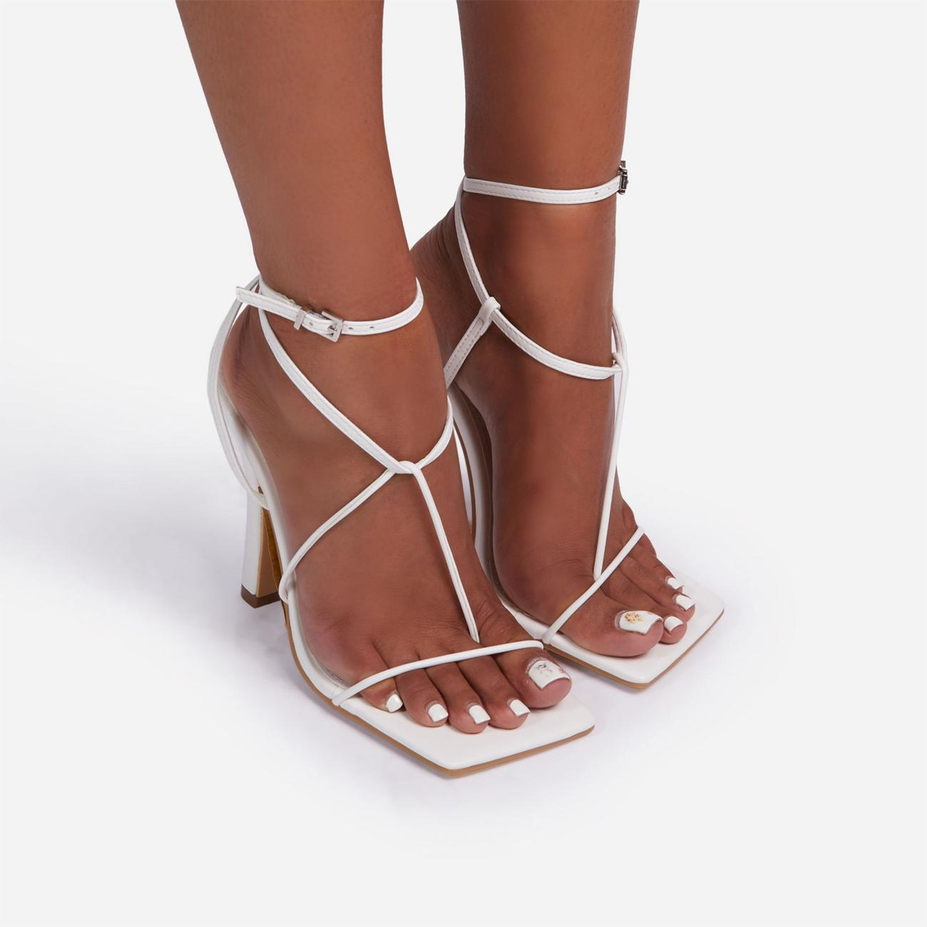 Glambition Strappy Square Toe Track Sole Heel In White Faux Leather Image 3