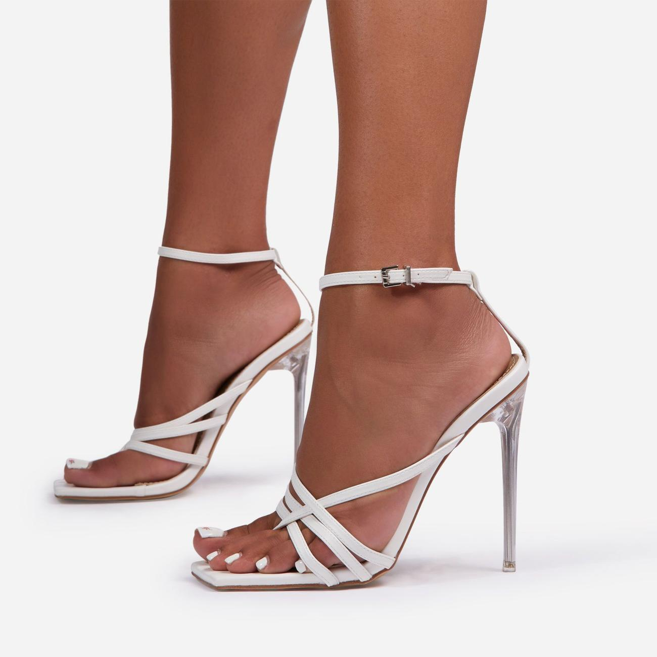 Rayon Strappy Square Toe Clear Perspex Heel In White Faux Leather Image 1