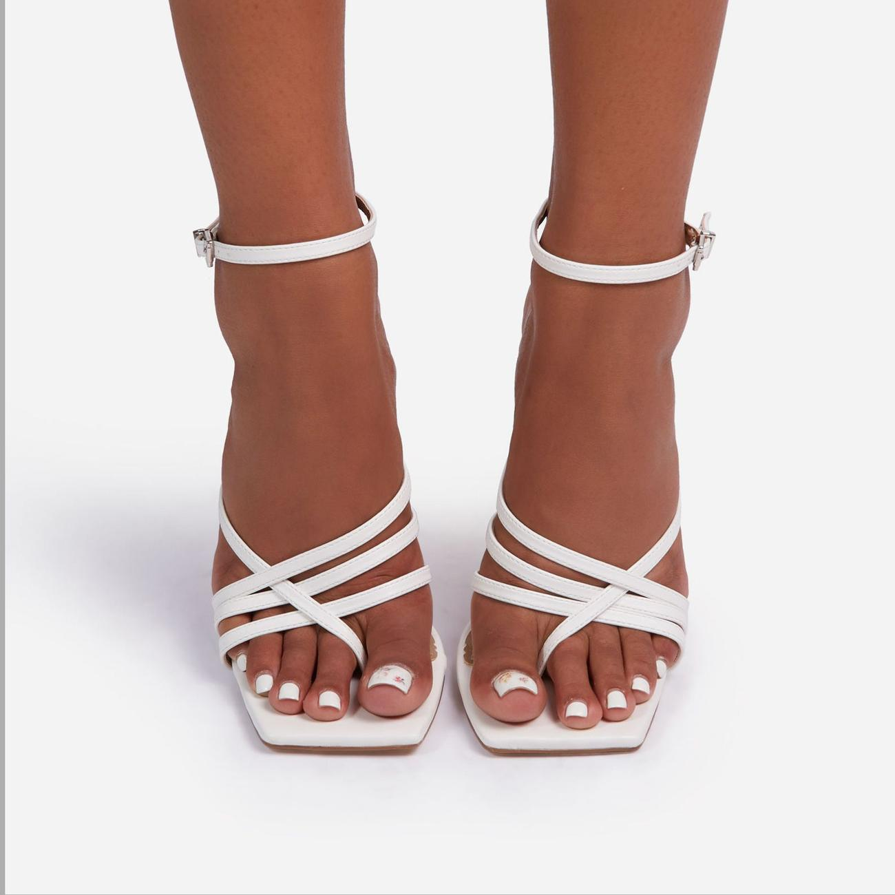Rayon Strappy Square Toe Clear Perspex Heel In White Faux Leather Image 4