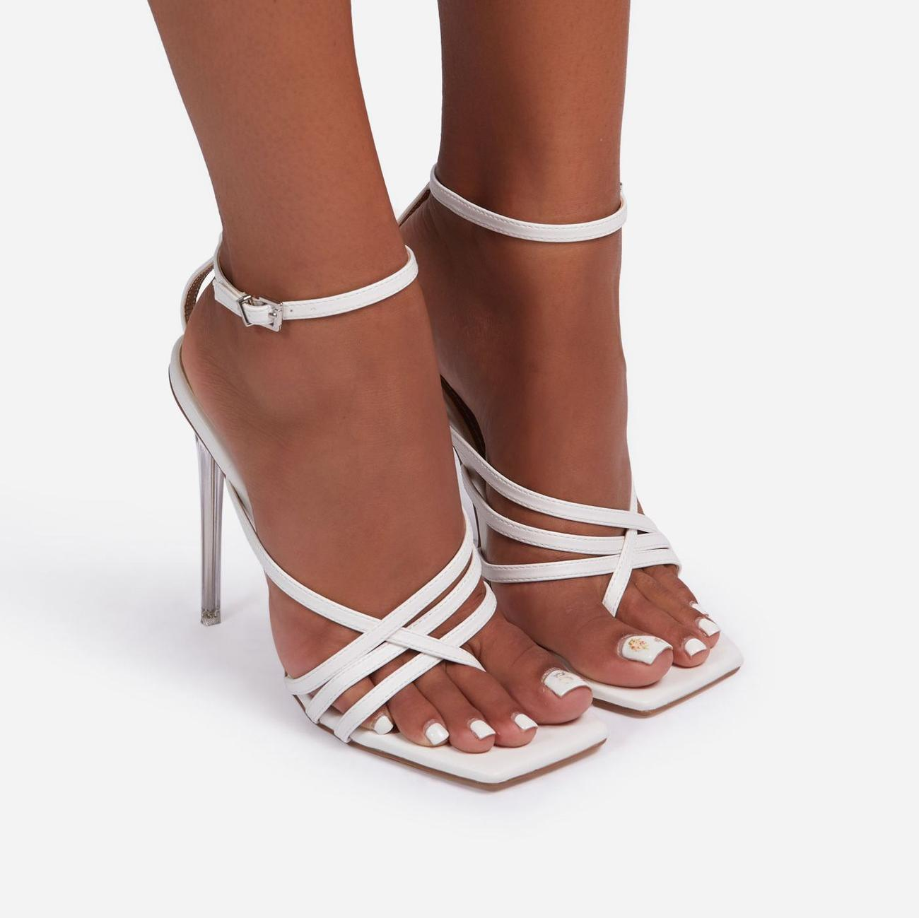 Rayon Strappy Square Toe Clear Perspex Heel In White Faux Leather Image 3