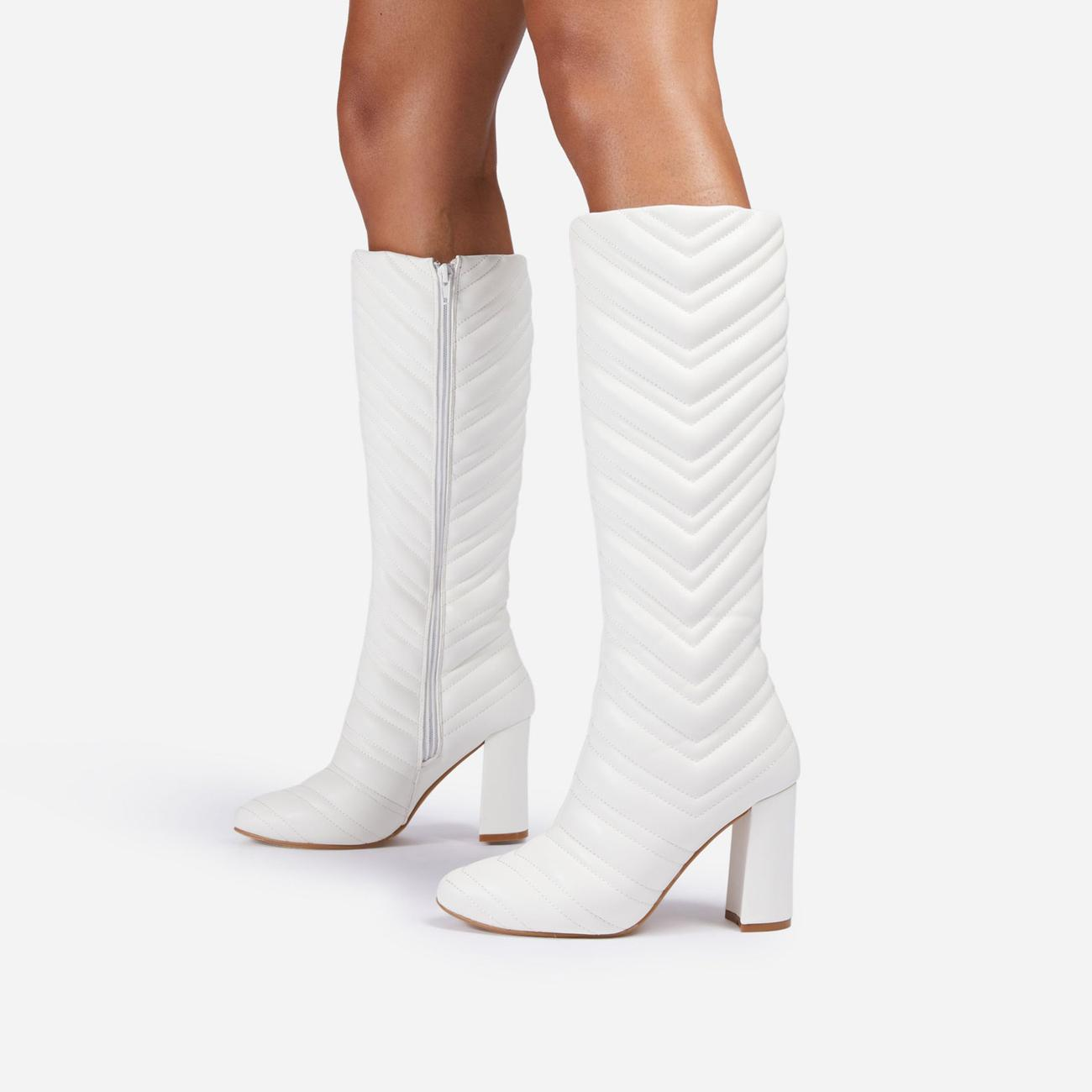New-Goals Stitch Detail Block Heel Knee High Long Boot In White Faux Leather