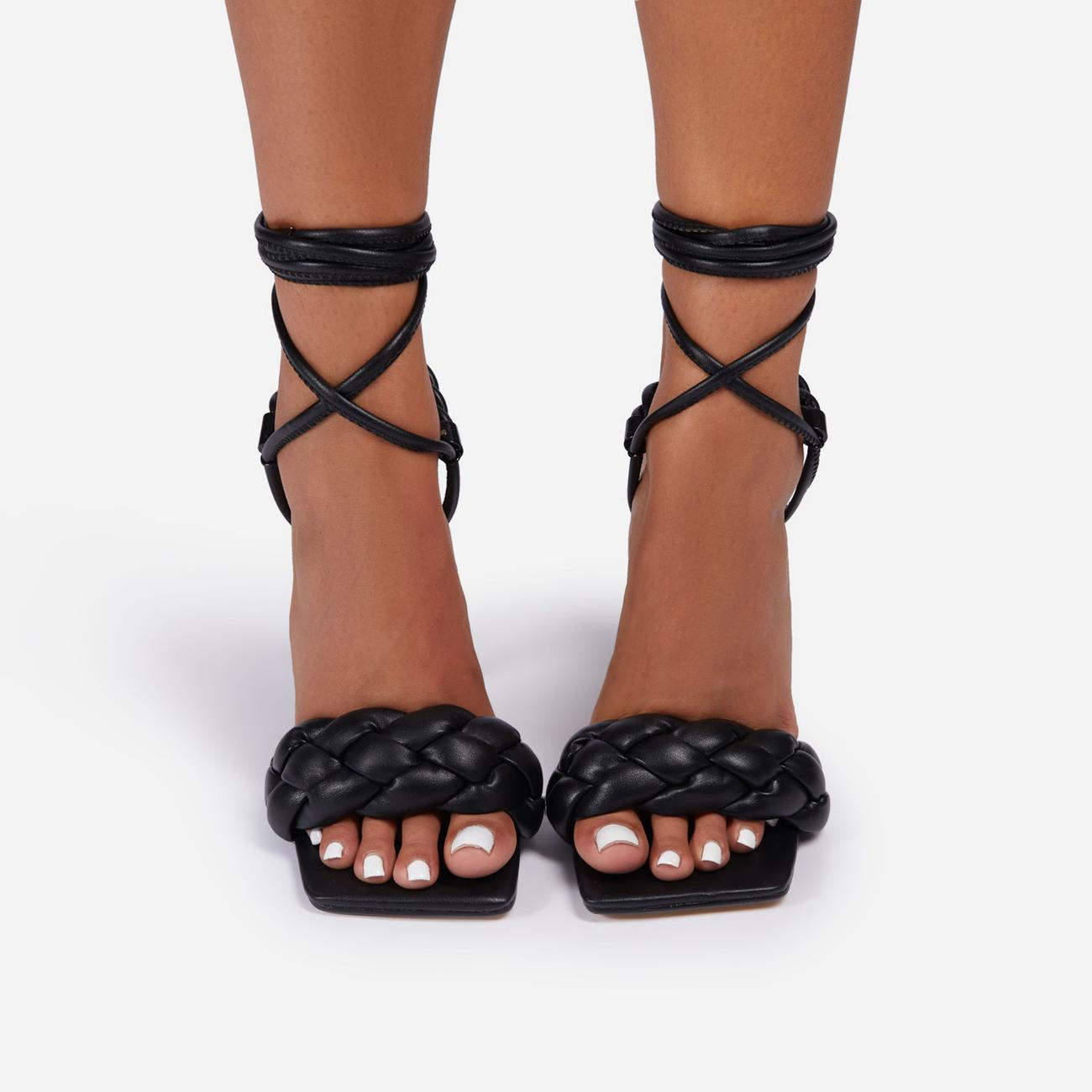 Cascade Lace Up Braided Detail Square Toe Heel In Black Faux Leather Image 5