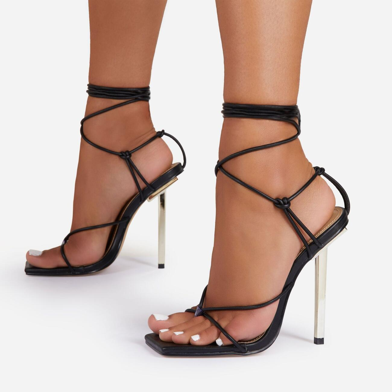 Raven Knotted Detail Lace Up Square Toe Metallic Heel In Black Faux Leather Image 1