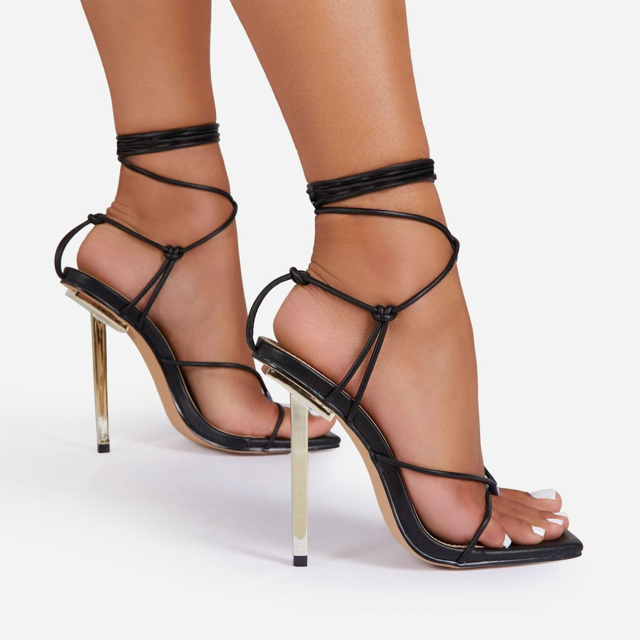 Raven Knotted Detail Lace Up Square Toe Metallic Heel In Black Faux Leather Image 2