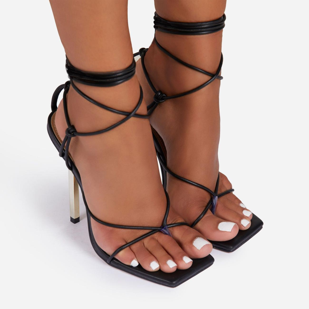 Raven Knotted Detail Lace Up Square Toe Metallic Heel In Black Faux Leather Image 3