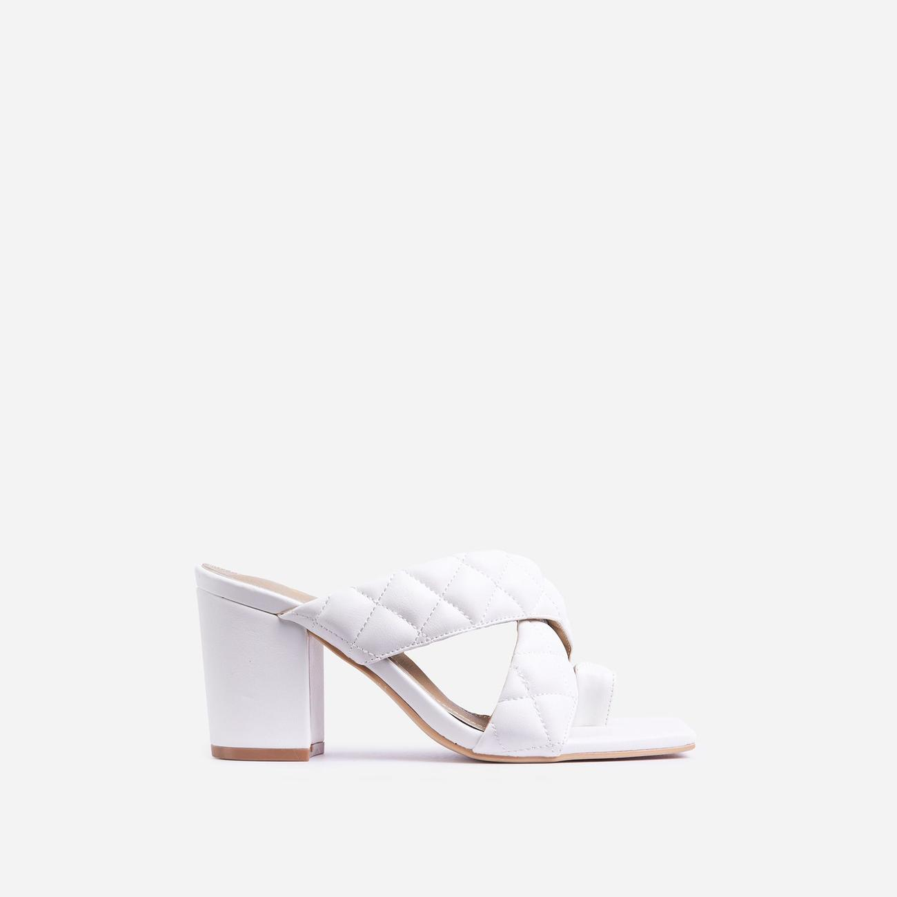 Sugar High Quilted Crossover Square Peep Toe Midi Block Heel Mule In White Faux Leather Image 1