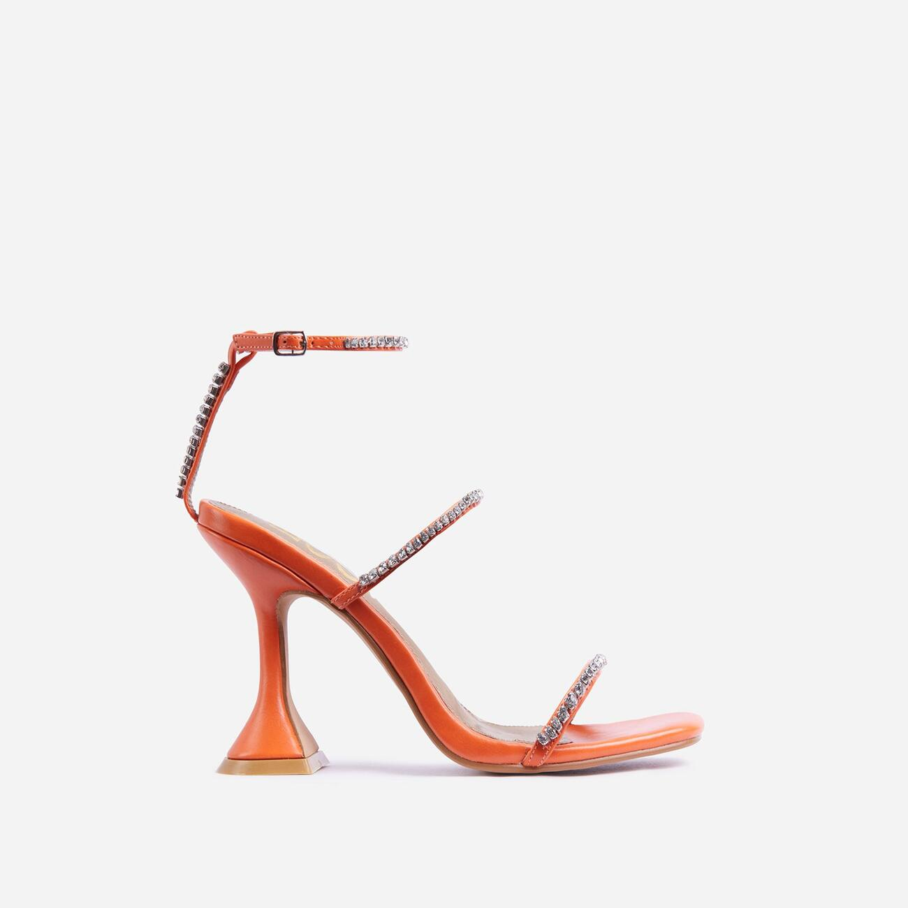 Catch Me Diamante Detail Square Toe Pyramid Heel In Orange Faux Leather Image 1