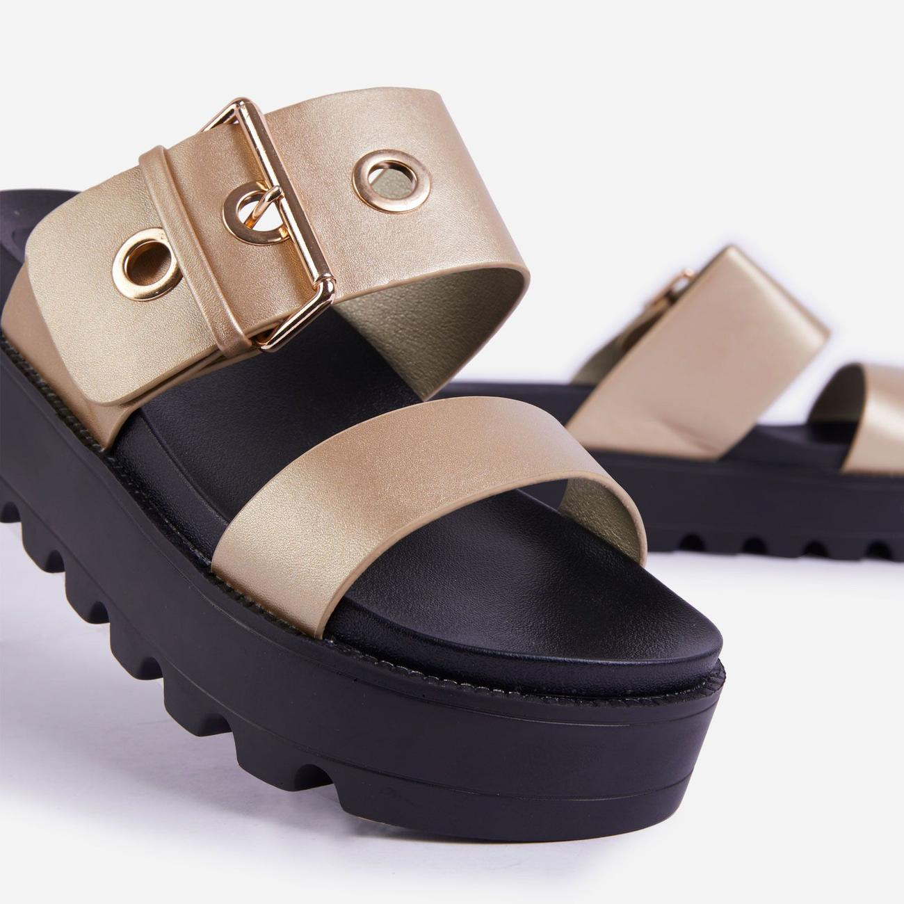Aliki Chunky Sole Buckle Detail Sandal In Gold Faux Leather Image 5