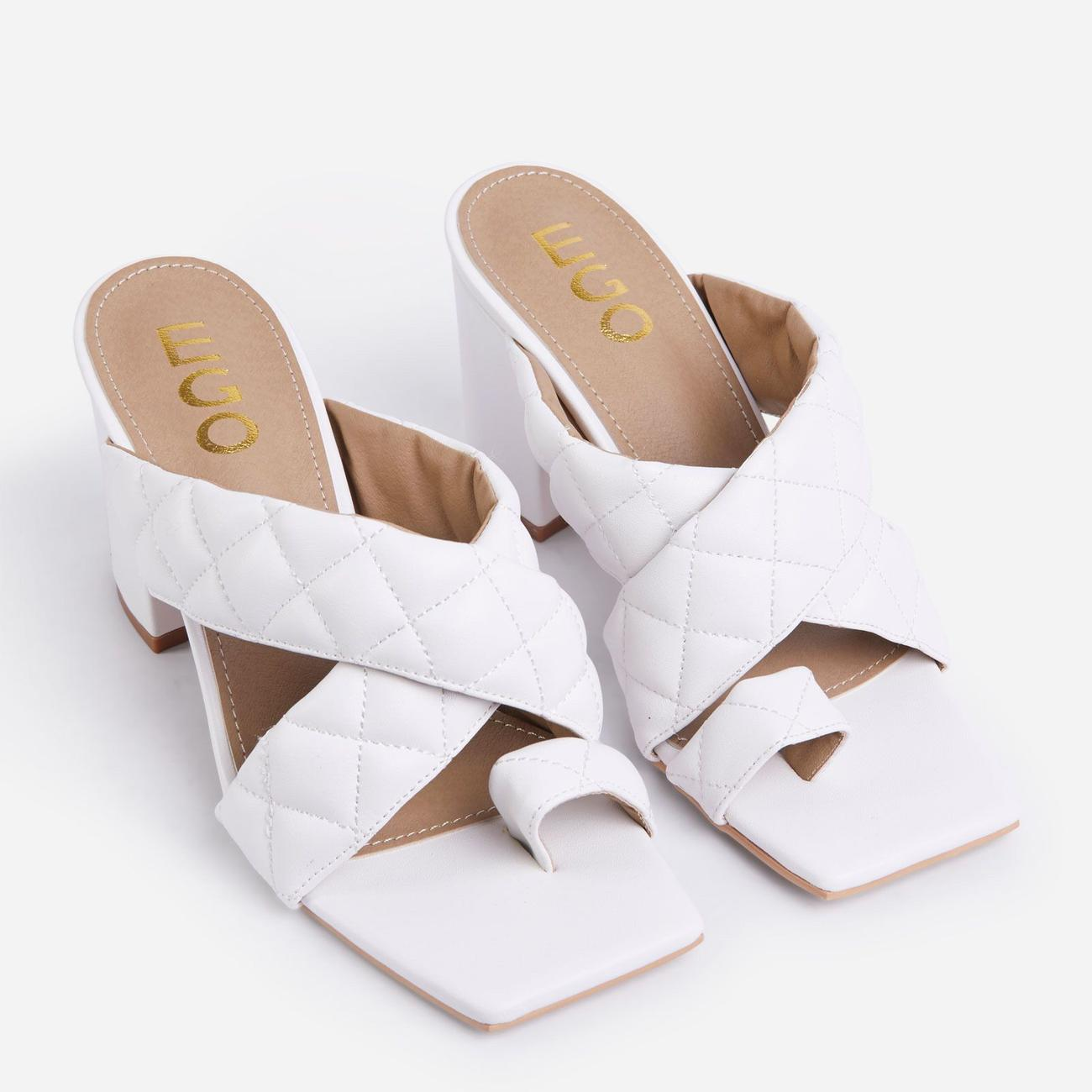Sugar High Quilted Crossover Square Peep Toe Midi Block Heel Mule In White Faux Leather Image 2