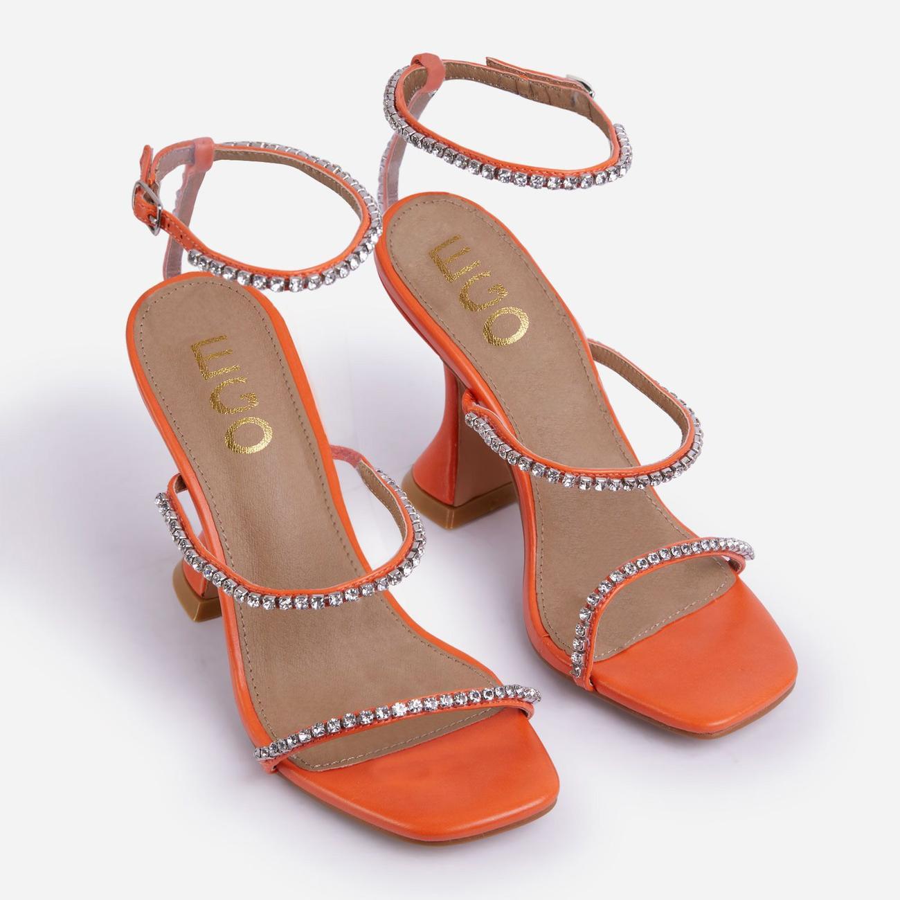 Catch Me Diamante Detail Square Toe Pyramid Heel In Orange Faux Leather Image 2