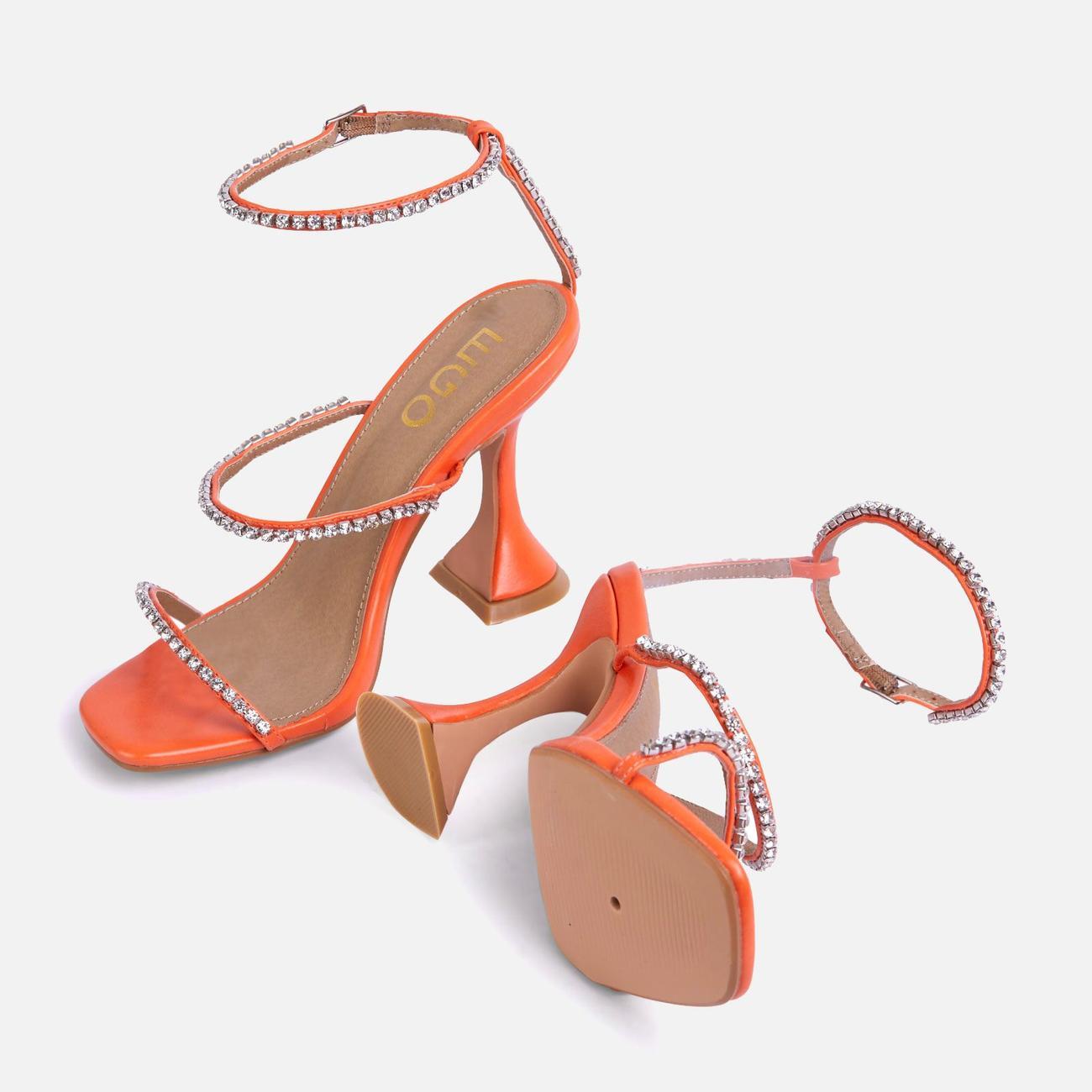 Catch Me Diamante Detail Square Toe Pyramid Heel In Orange Faux Leather Image 4