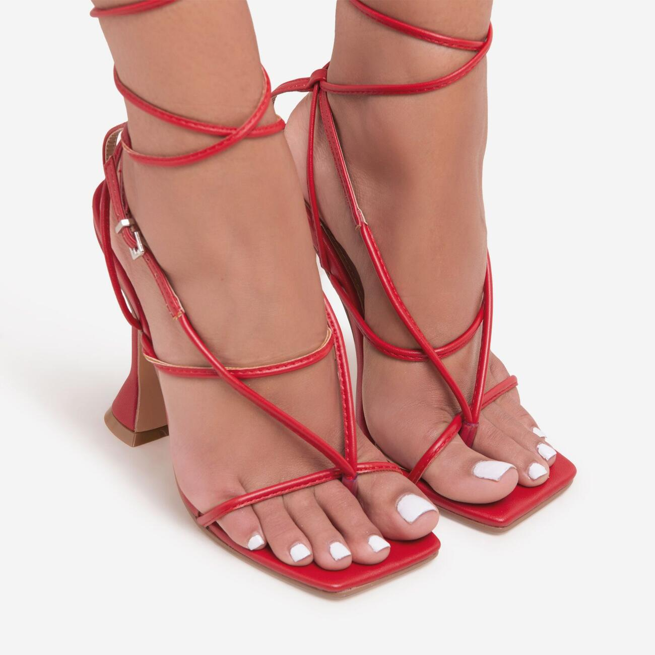My-Angels Lace Up Square Toe Pyramid Heel In Red Faux Leather Image 3