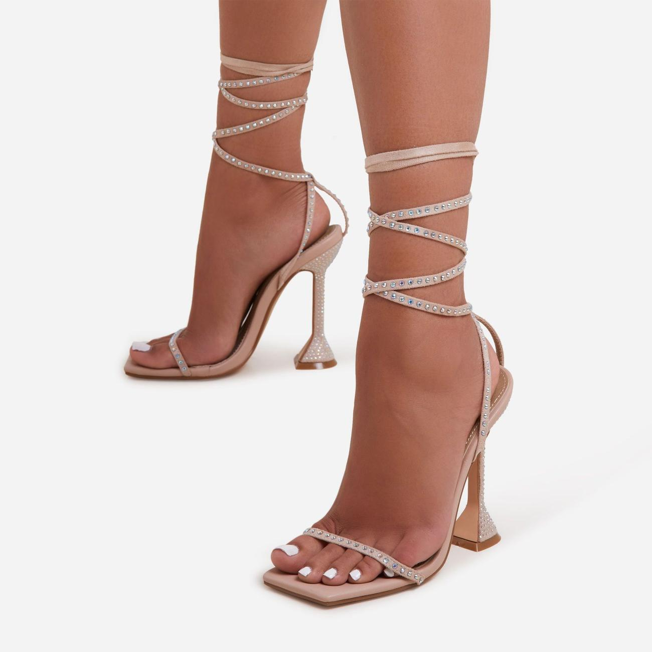 Yaya Diamante Detail Lace Up Square Toe Pyramid Heel In Nude Faux Leather Image 1