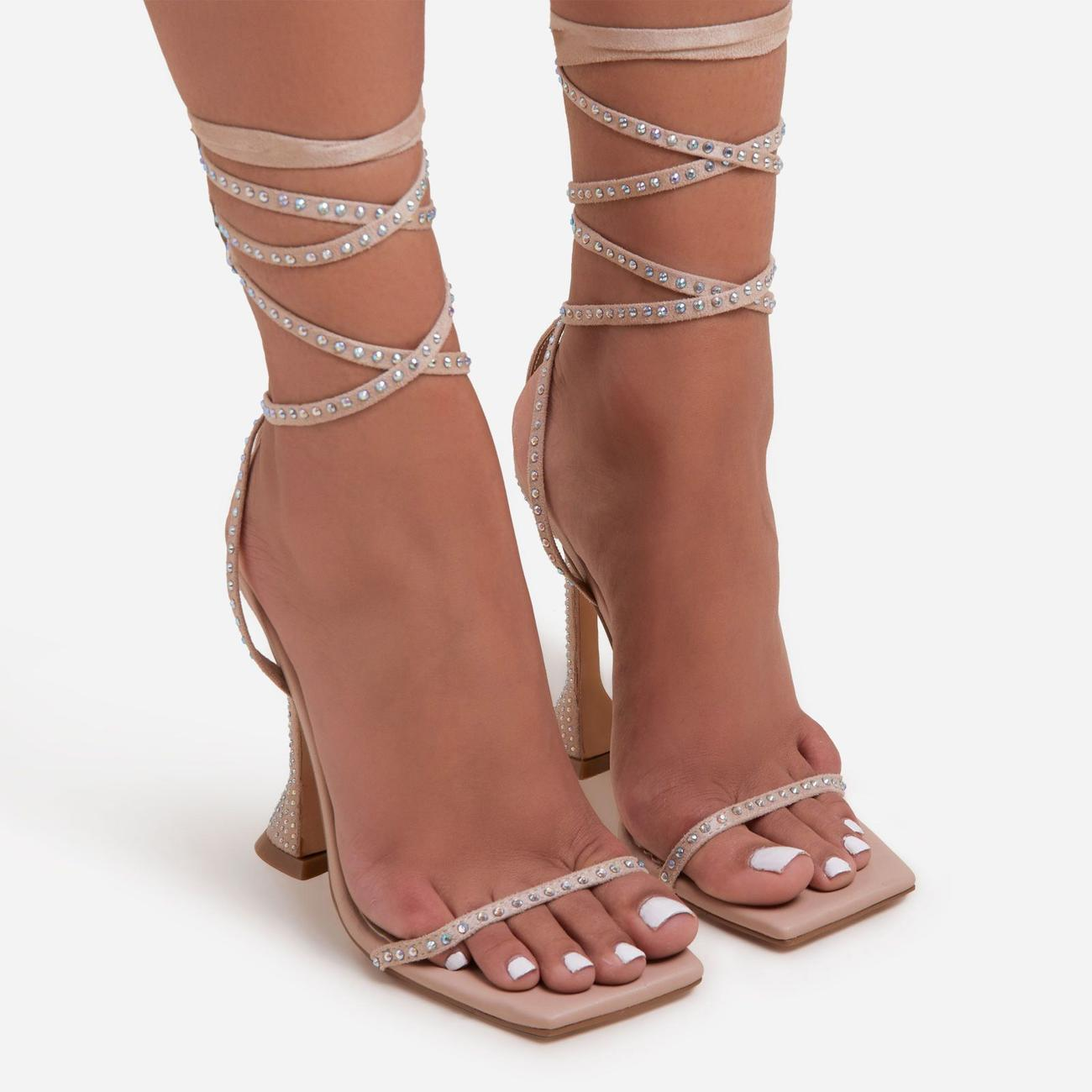 Yaya Diamante Detail Lace Up Square Toe Pyramid Heel In Nude Faux Leather Image 3