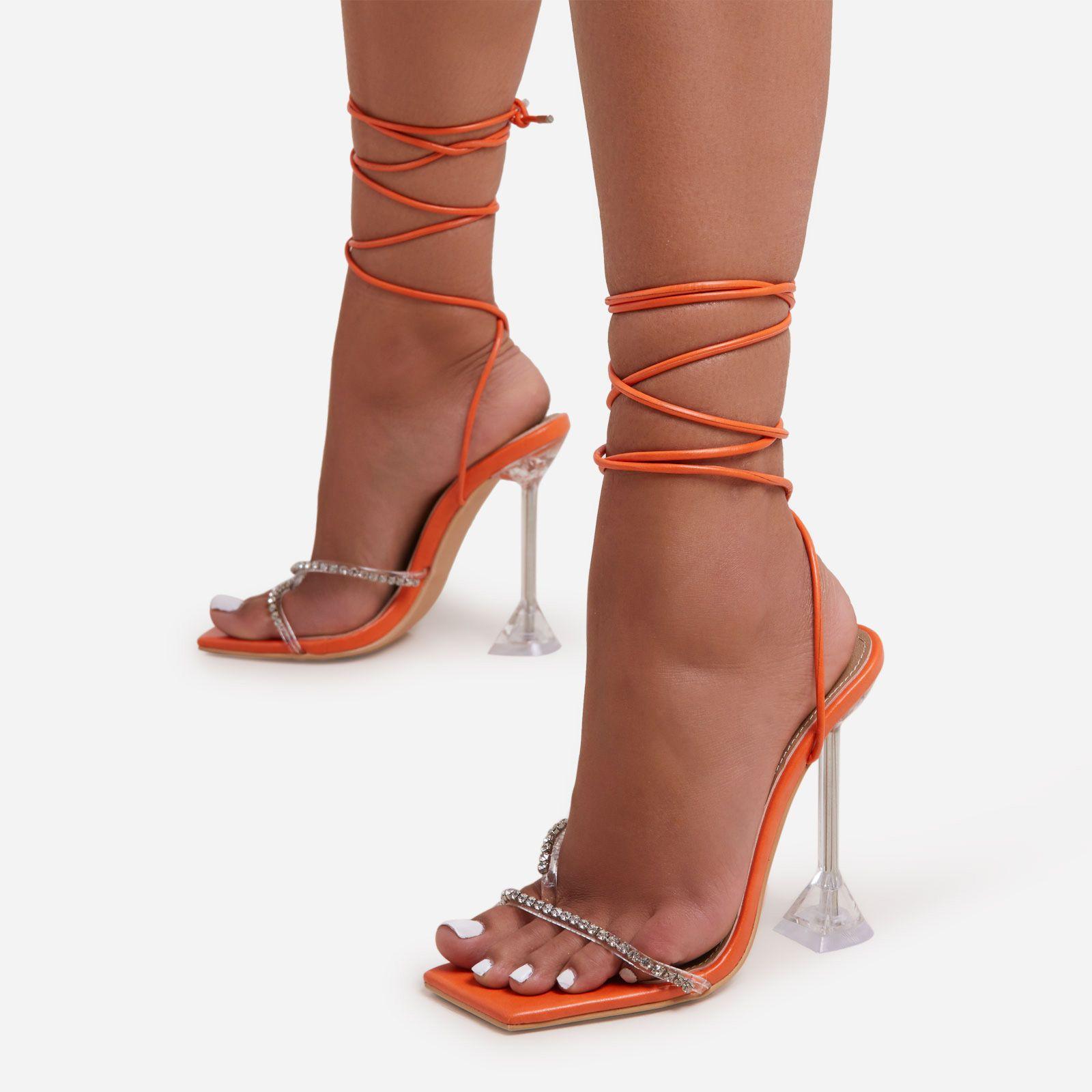 orange strap up heels