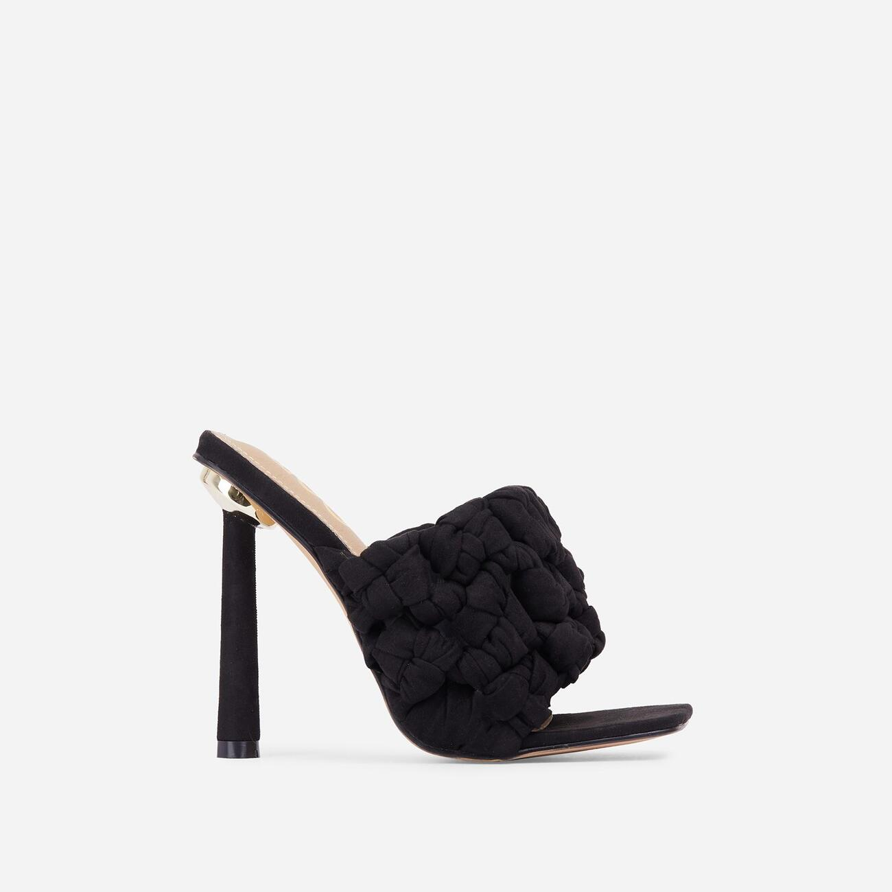 K-O Knotted Detail Square Open Toe Heel Mule In Black Faux Suede Image 1