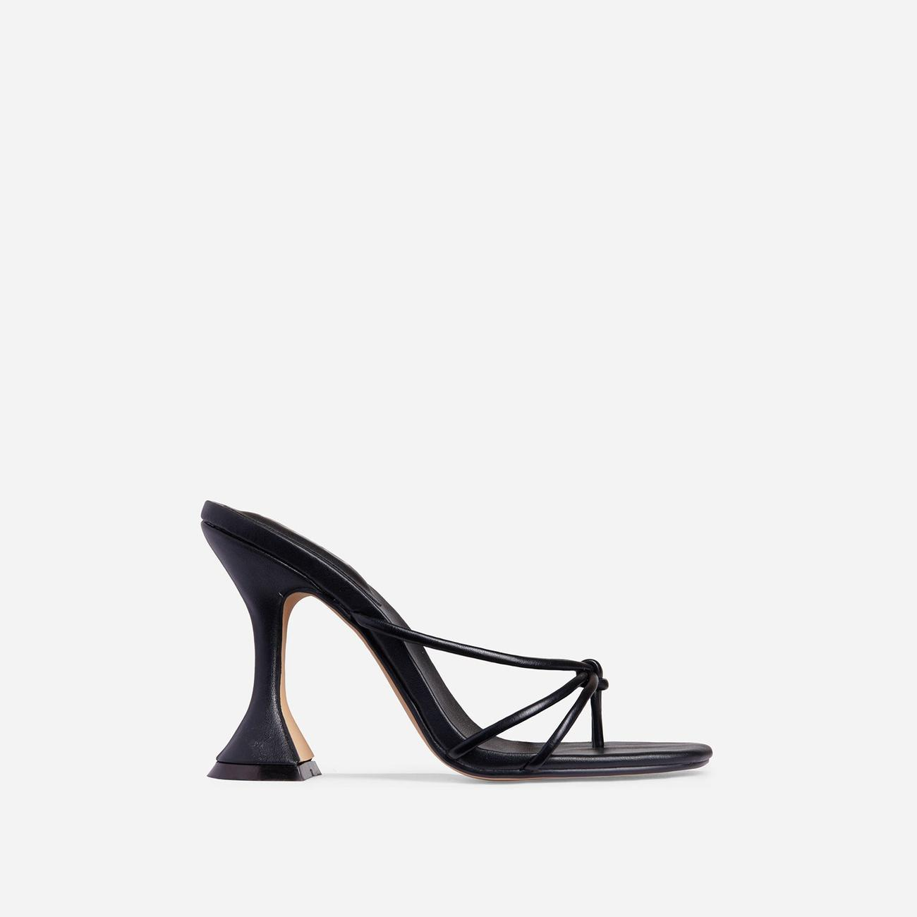 Trip Knot Detail Square Toe Pyramid Heel Mule In Black Faux Leather Image 1