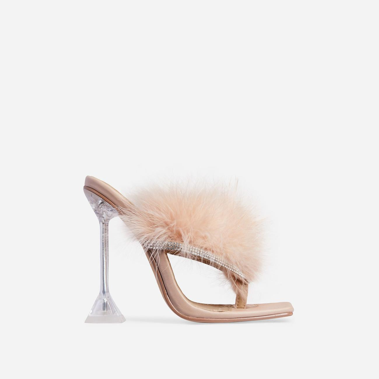 Rich-AF Diamante Detail Fluffy Square Toe Clear Perspex Pyramid Heel Mule In Nude Faux Leather Image 1