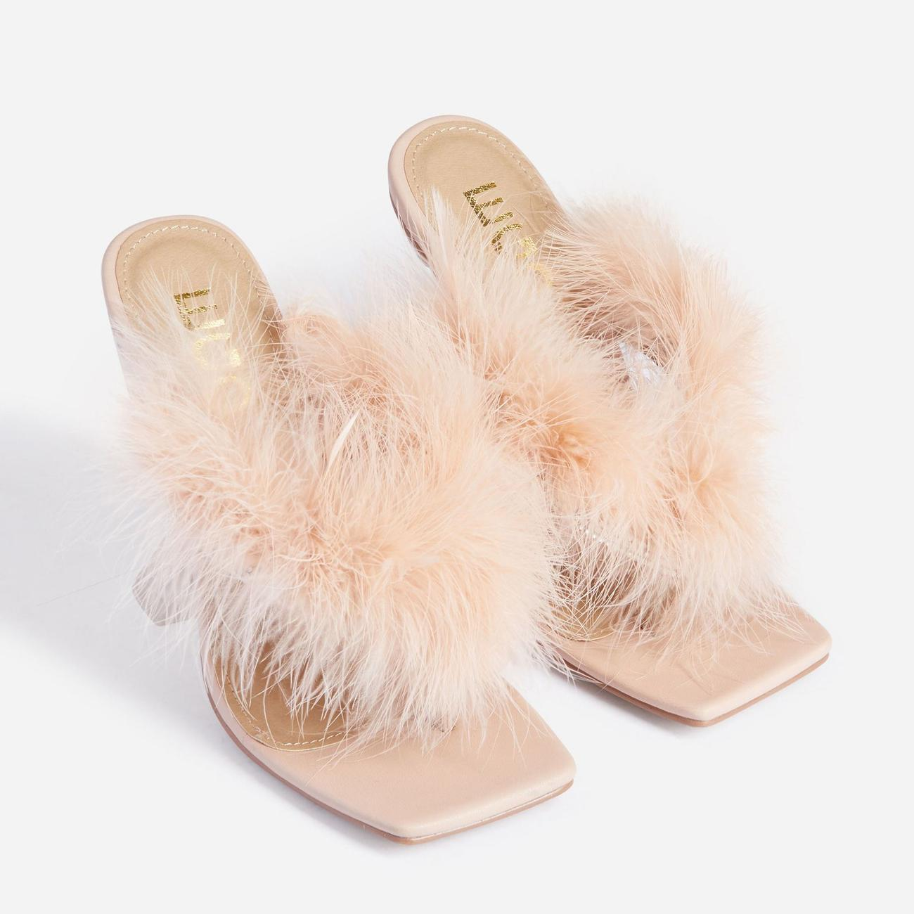 Rich-AF Diamante Detail Fluffy Square Toe Clear Perspex Pyramid Heel Mule In Nude Faux Leather Image 2
