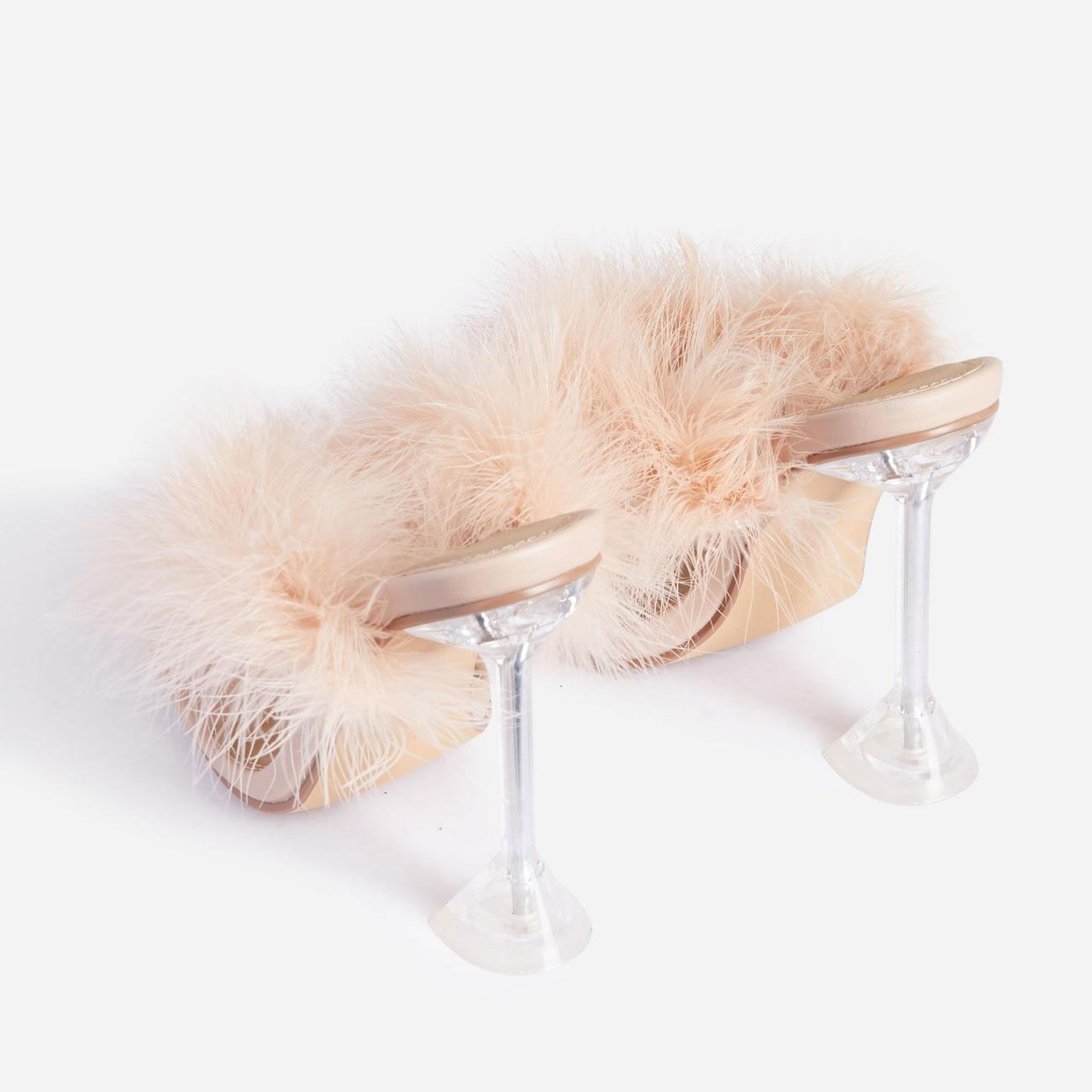 Rich-AF Diamante Detail Fluffy Square Toe Clear Perspex Pyramid Heel Mule In Nude Faux Leather Image 3