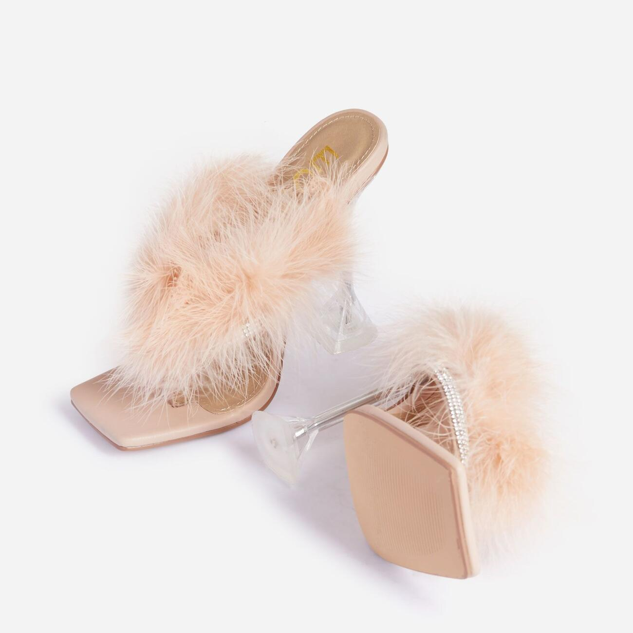 Rich-AF Diamante Detail Fluffy Square Toe Clear Perspex Pyramid Heel Mule In Nude Faux Leather Image 4