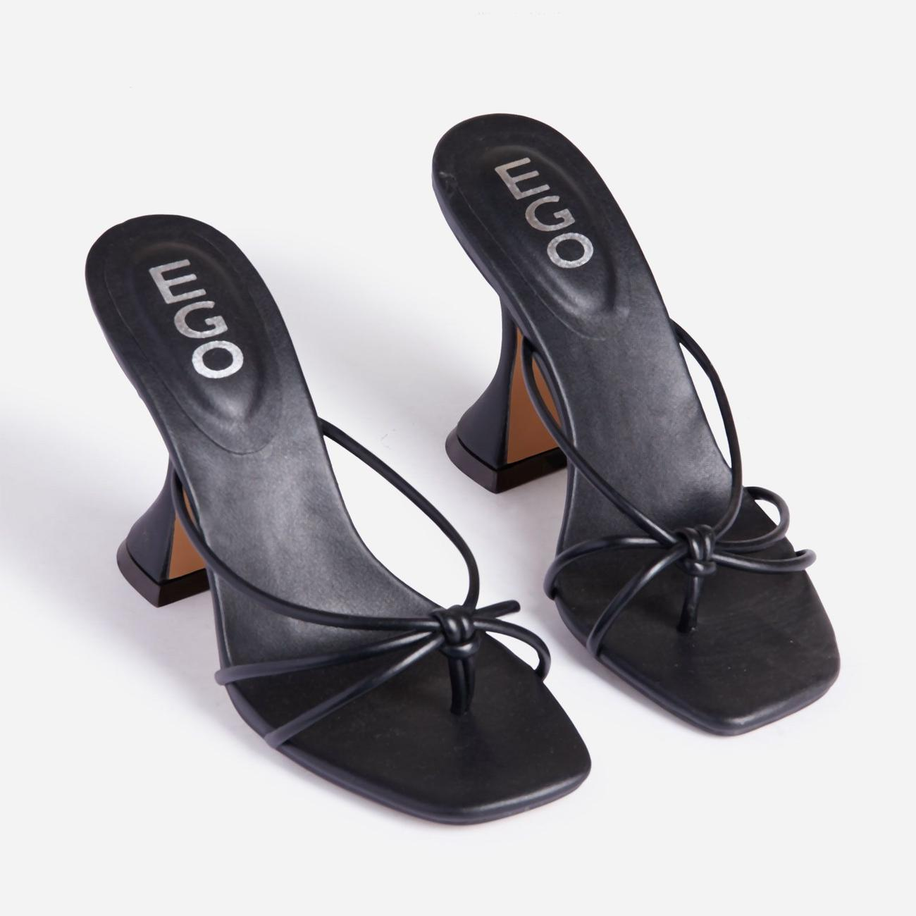 Trip Knot Detail Square Toe Pyramid Heel Mule In Black Faux Leather Image 2