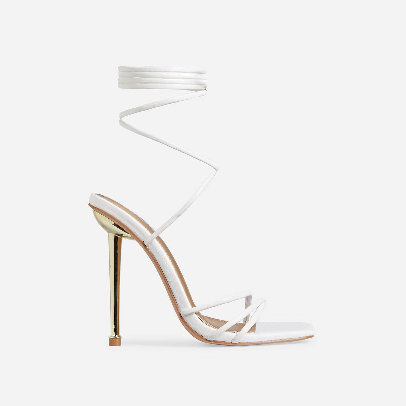 Word-Up Lace Up Square Toe Heel In White Faux Leather Image 1