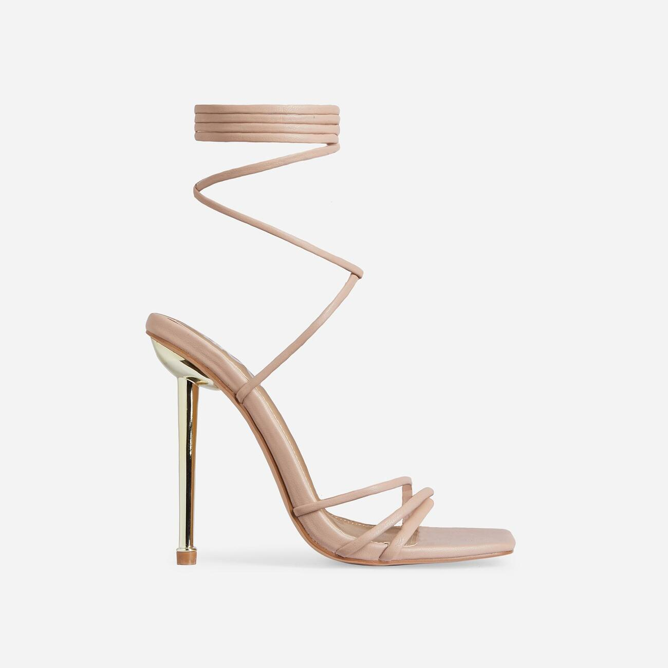 Word-Up Lace Up Square Toe Heel In Nude Faux Leather Image 1