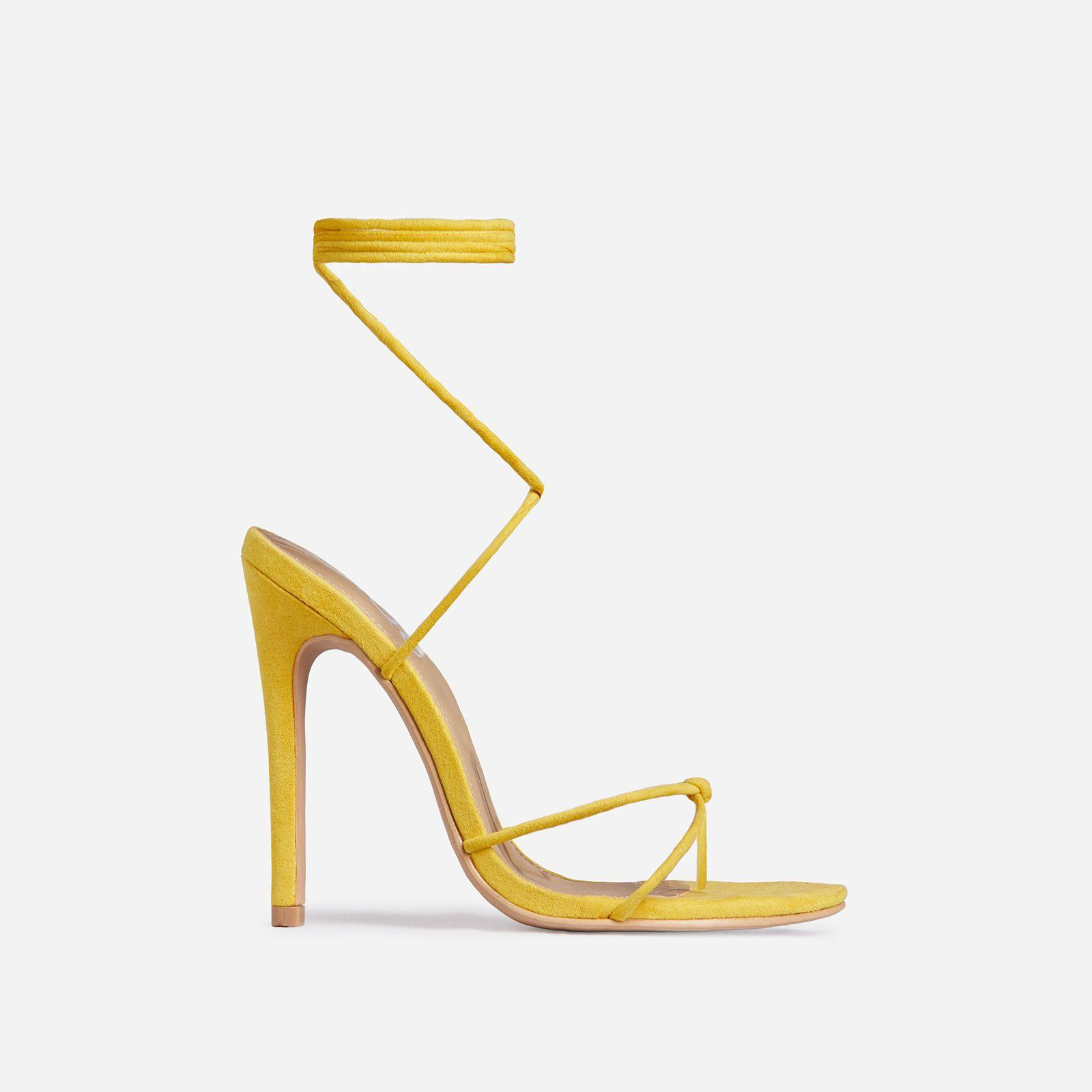 Lace Up Knot Heel In Yellow Faux Suede