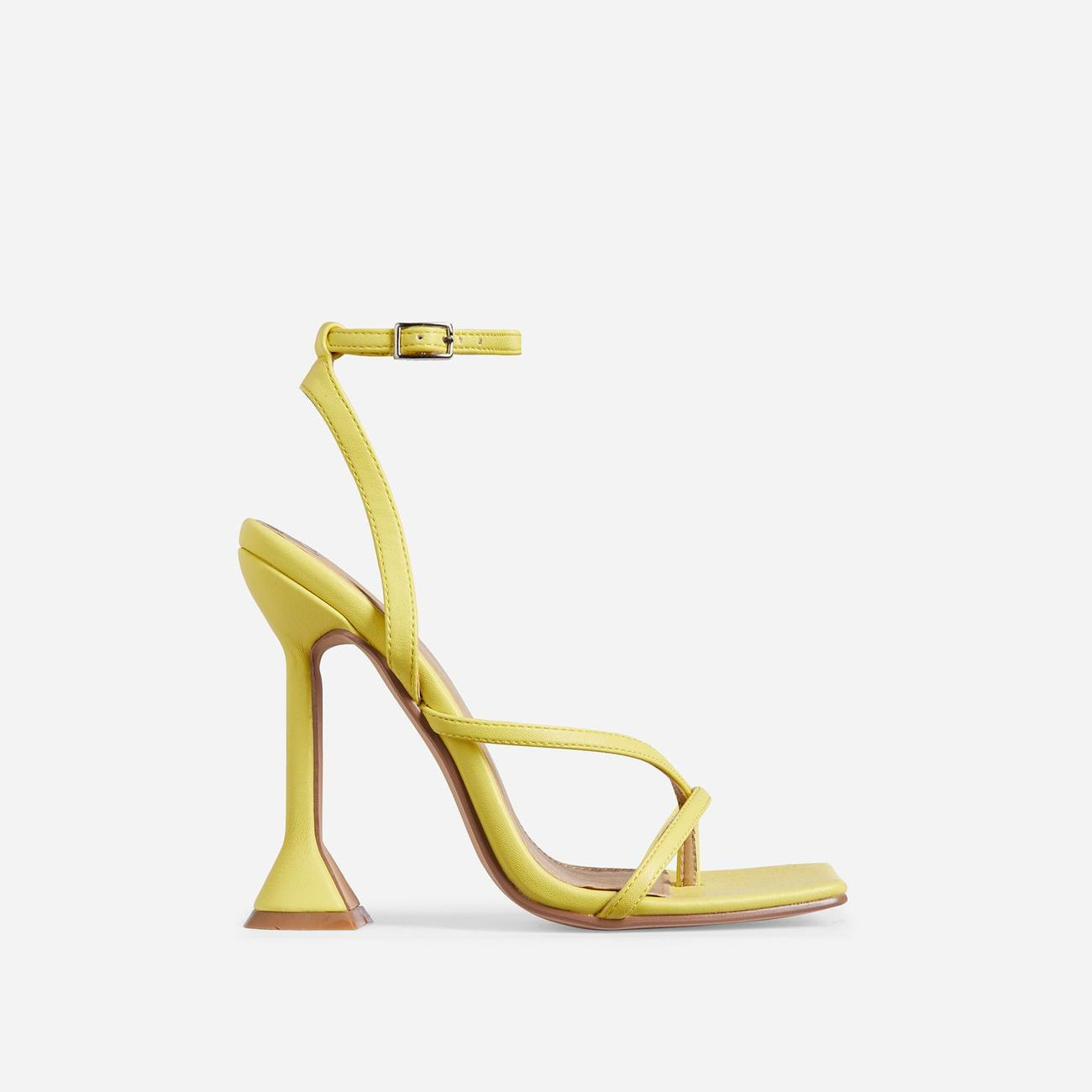 Freestyle Square Toe Pyramid Heel In Yellow Faux Leather Image 1