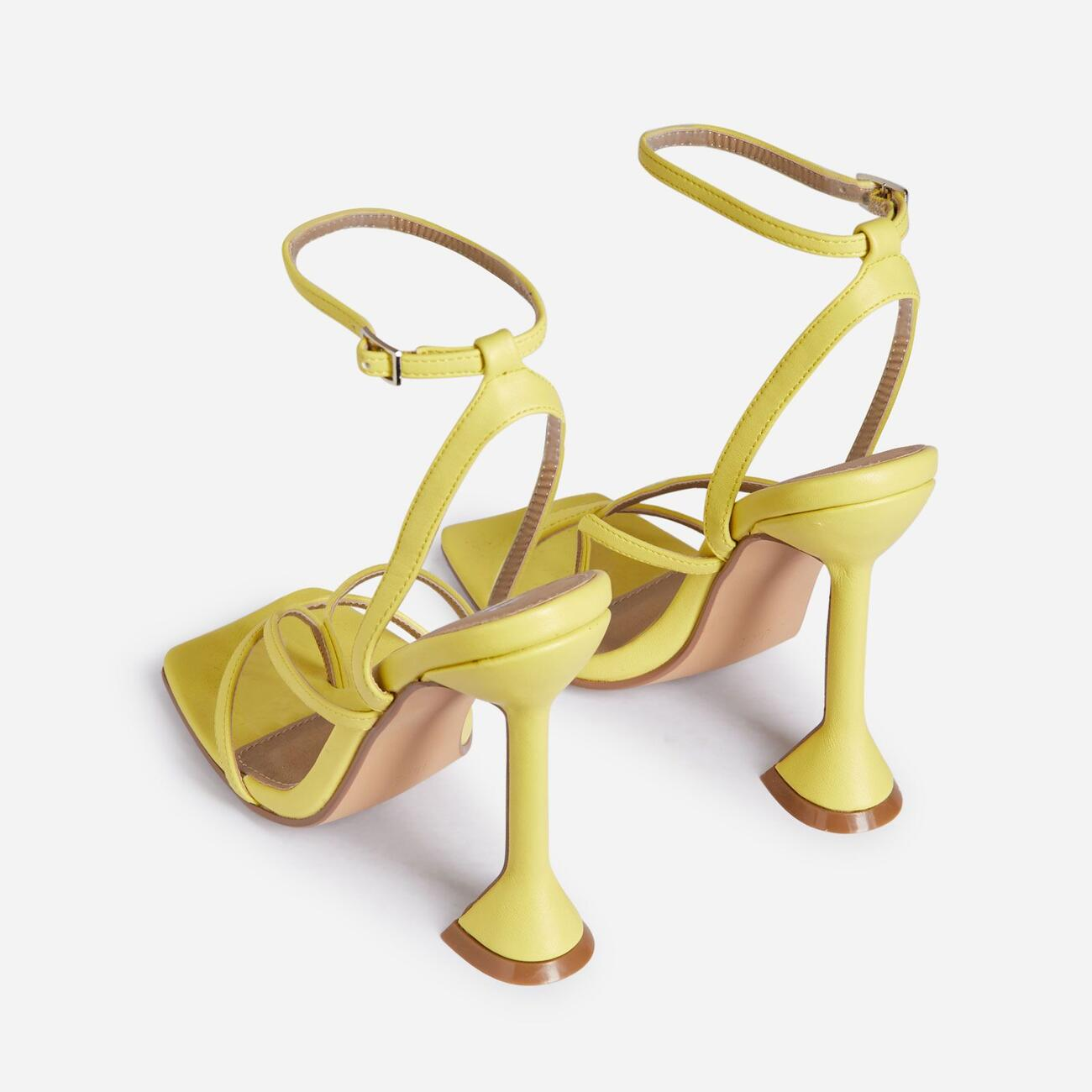Freestyle Square Toe Pyramid Heel In Yellow Faux Leather Image 3