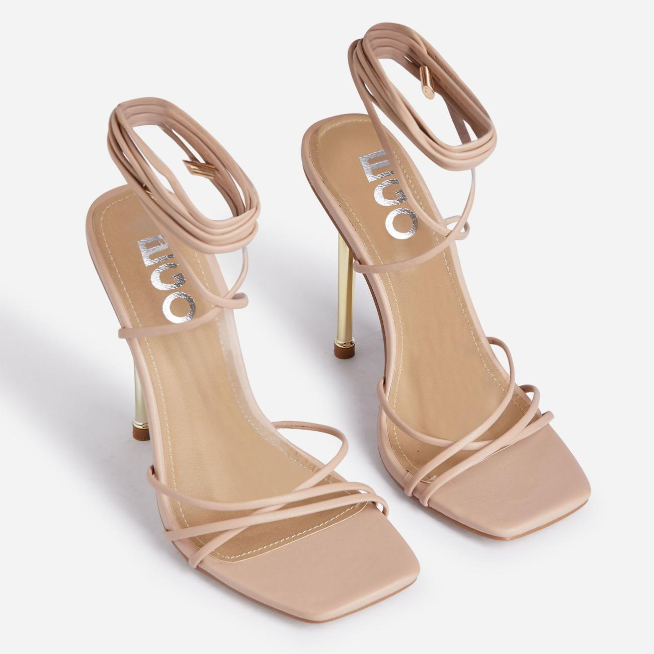 Word-Up Lace Up Square Toe Heel In Nude Faux Leather Image 2