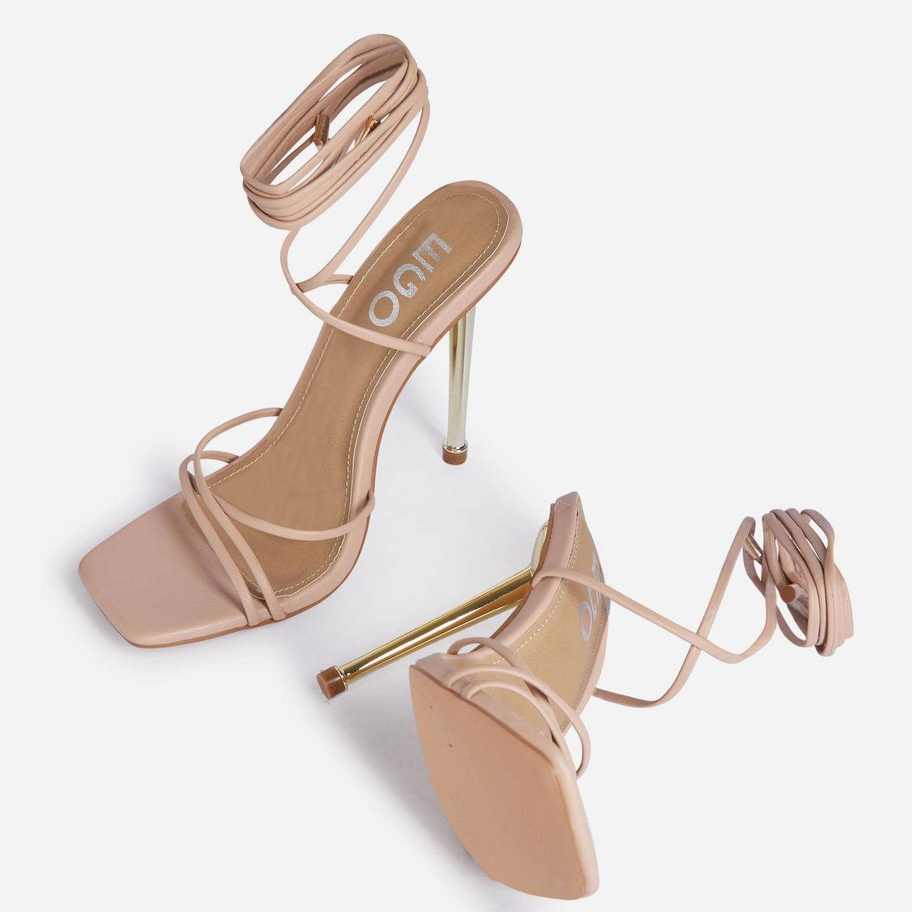 Word-Up Lace Up Square Toe Heel In Nude Faux Leather Image 4