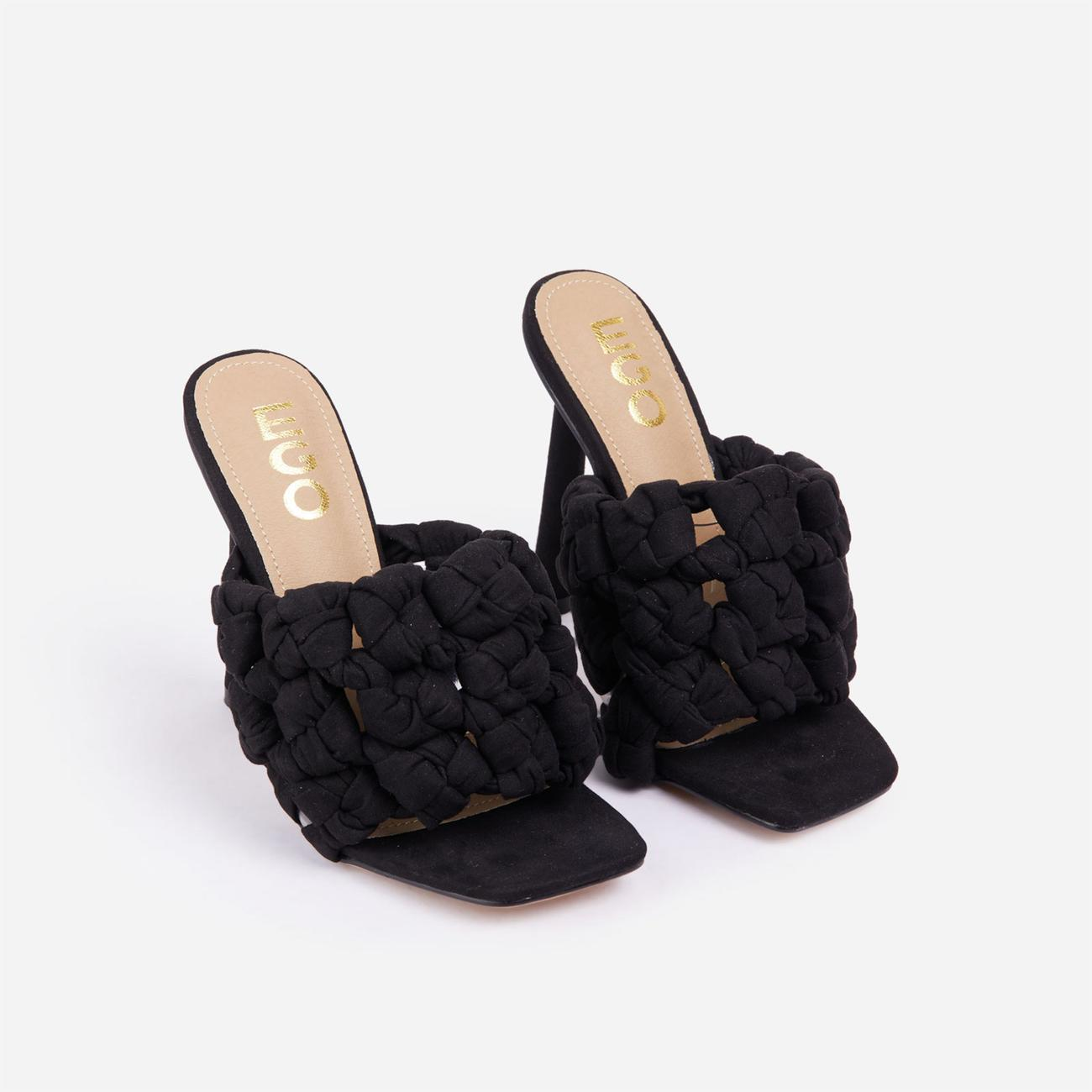K-O Knotted Detail Square Open Toe Heel Mule In Black Faux Suede Image 2