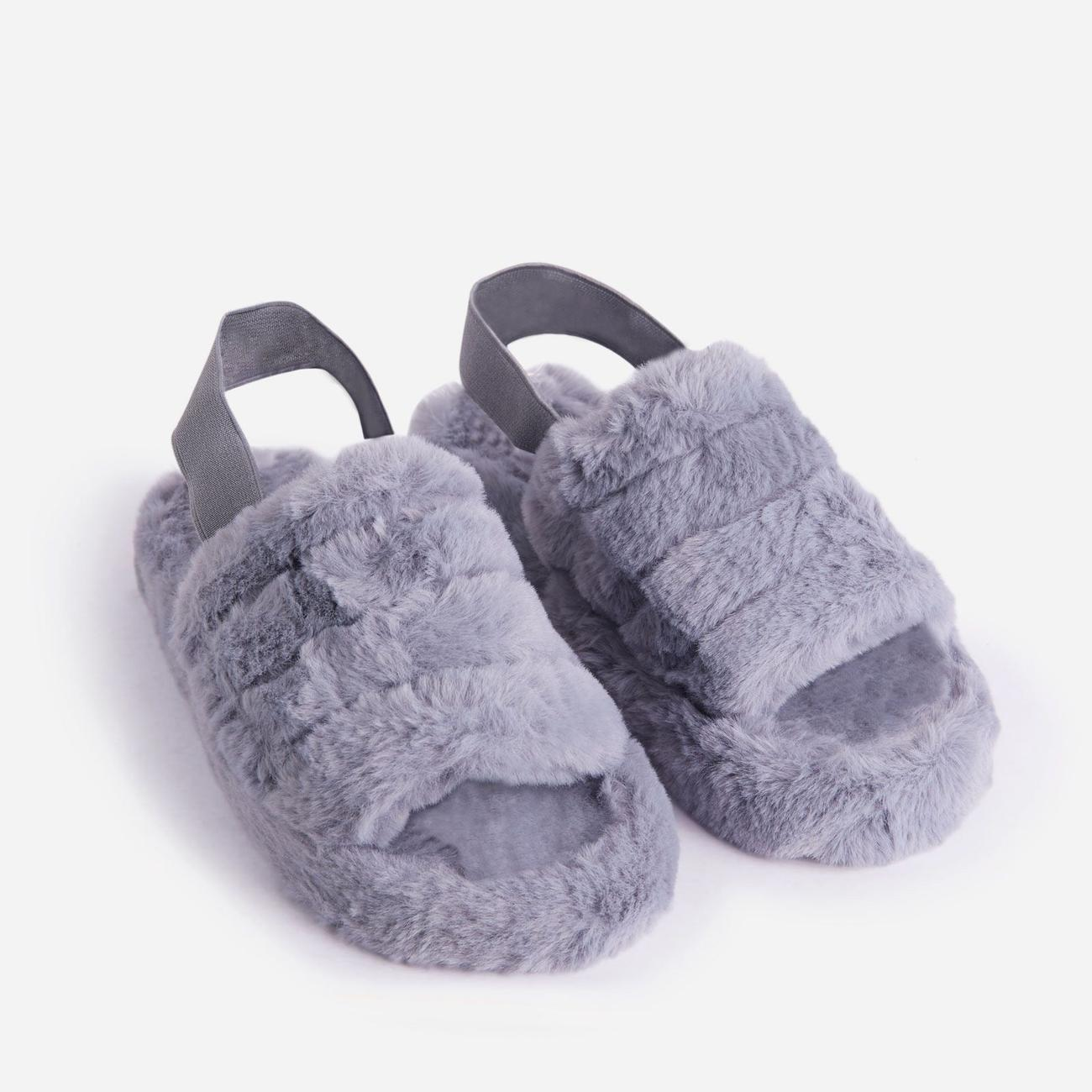 Boo Fluffy Stripe Slipper In Grey Faux Fur Image 2