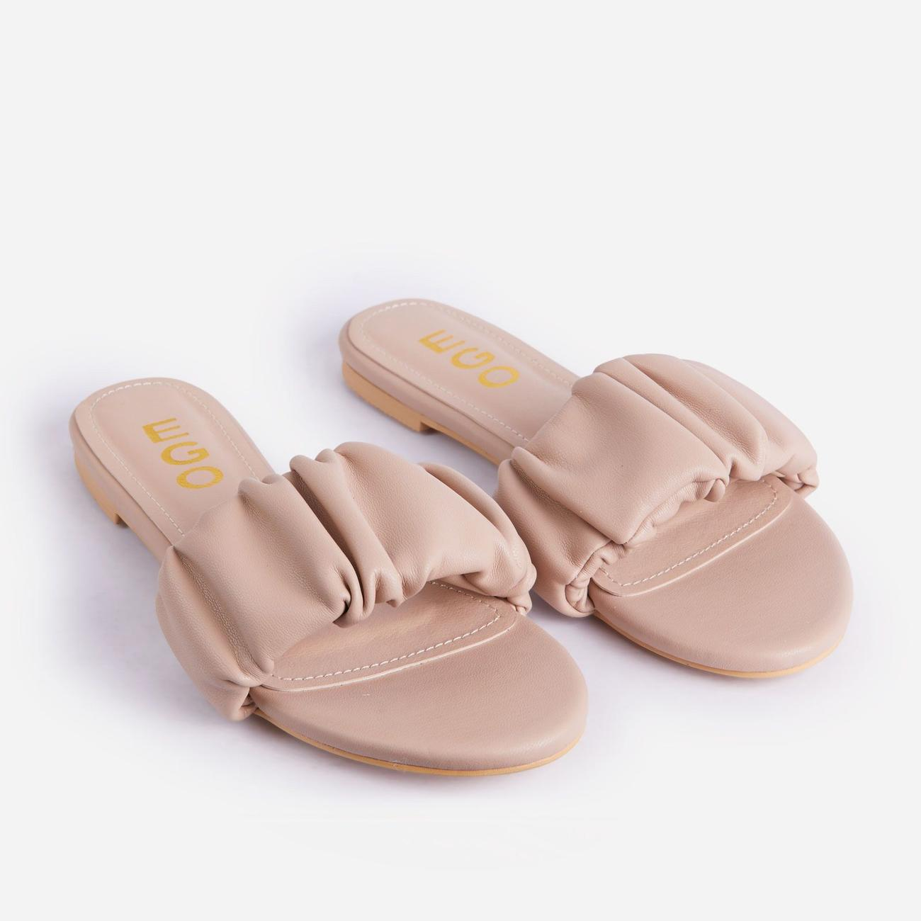Tender Ruched Flat Slider Sandal In Nude Faux Leather Image 2
