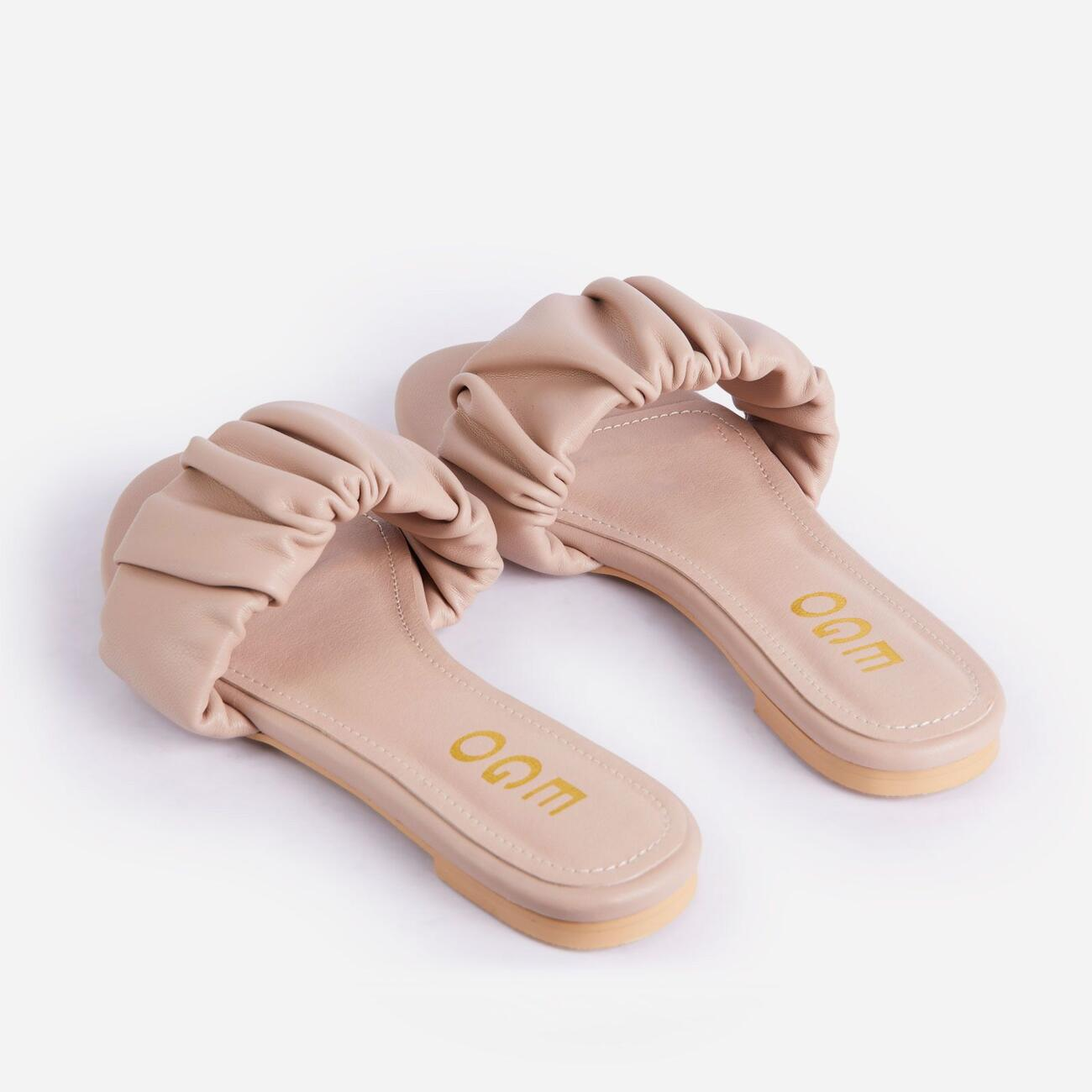 Tender Ruched Flat Slider Sandal In Nude Faux Leather Image 3