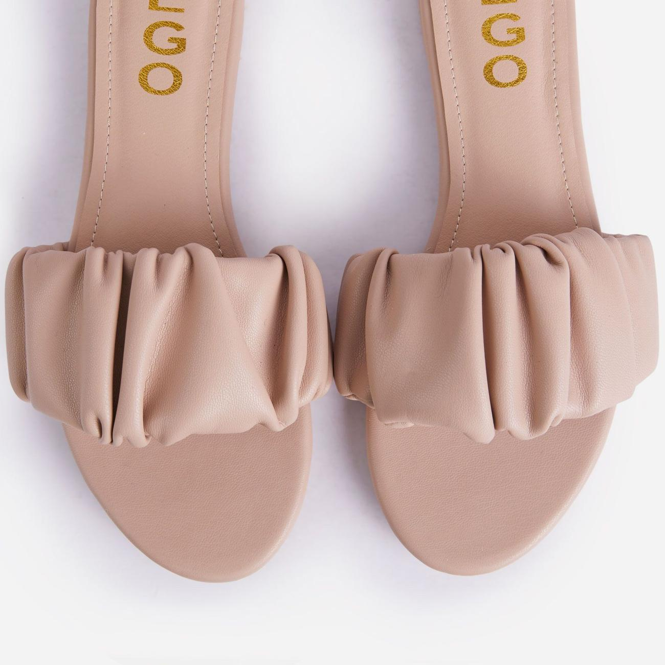Tender Ruched Flat Slider Sandal In Nude Faux Leather Image 5