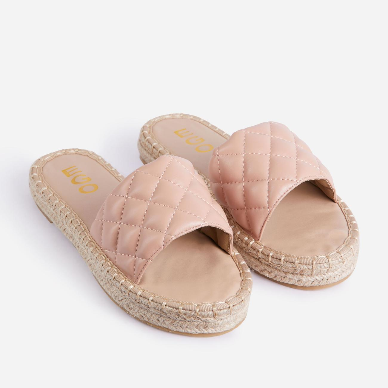 Aquarius Quilted Espadrille Flat Slider Sandal In Nude Faux Leather Image 2