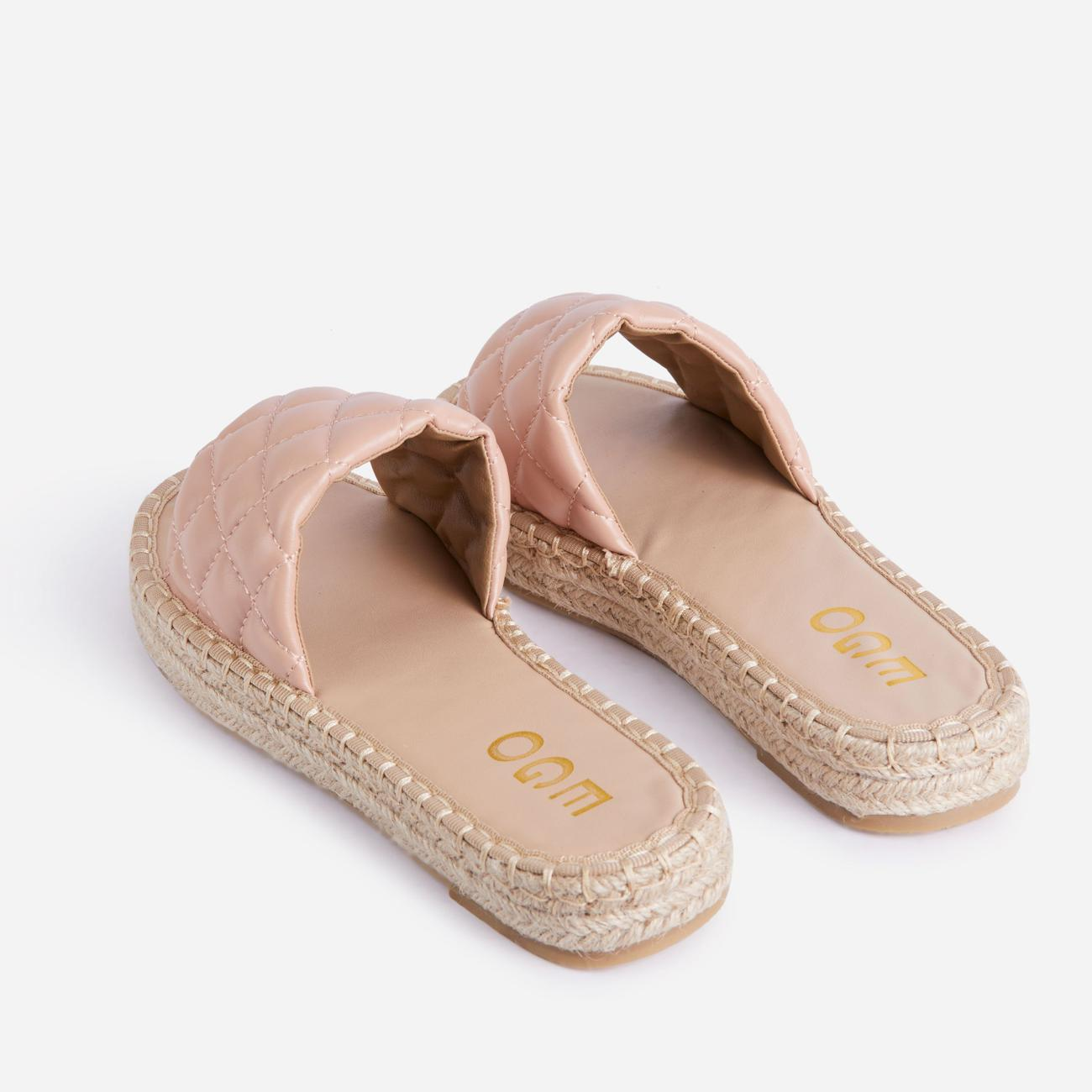 Aquarius Quilted Espadrille Flat Slider Sandal In Nude Faux Leather Image 3