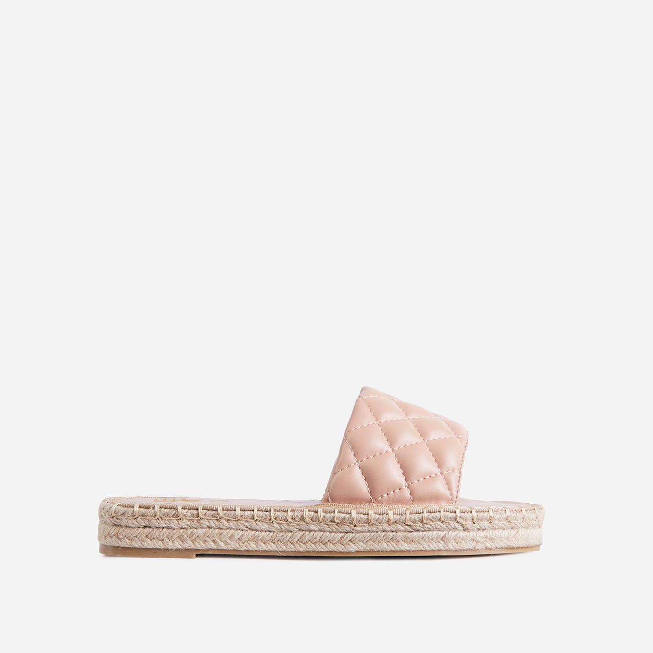Aquarius Quilted Espadrille Flat Slider Sandal In Nude Faux Leather Image 1