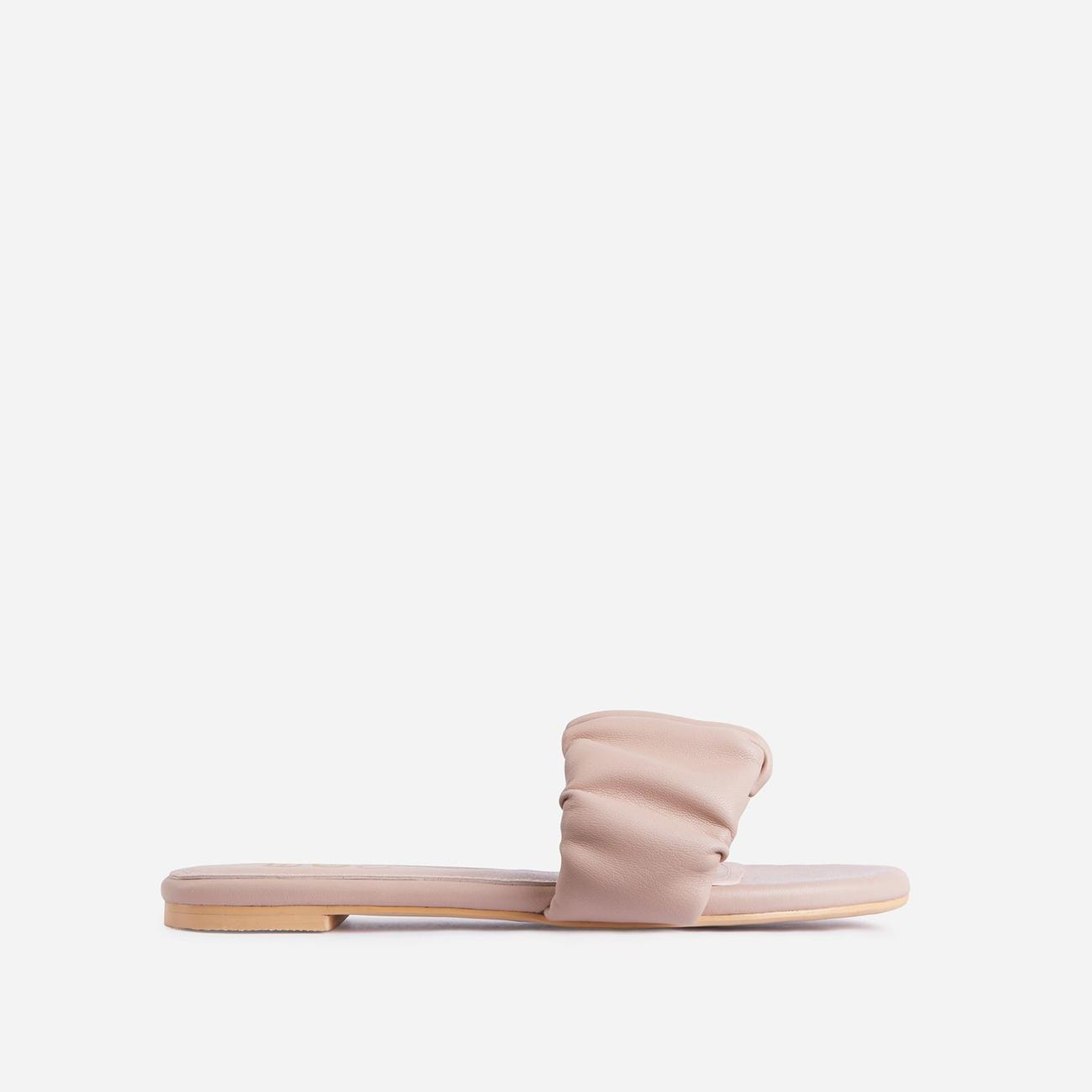 Tender Ruched Flat Slider Sandal In Nude Faux Leather Image 1